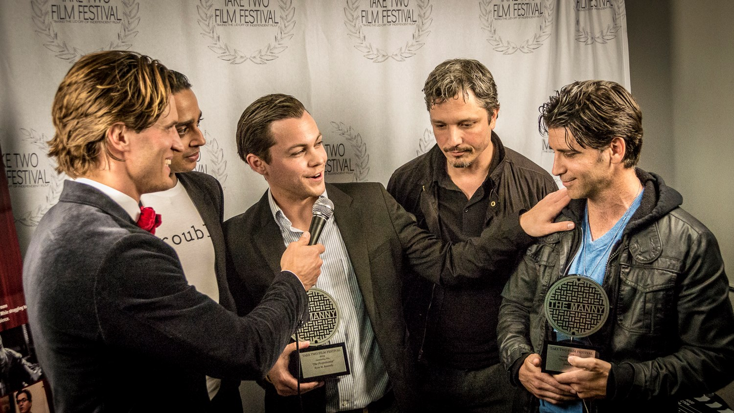 Andy Peeke, Atit Shah, Ryan M. Kennedy, Dominik Tiefenthaler, and Russ Russo, at the The Projectionist Screening at the Take Two Film Festival 2014. Photo by Edward Stern