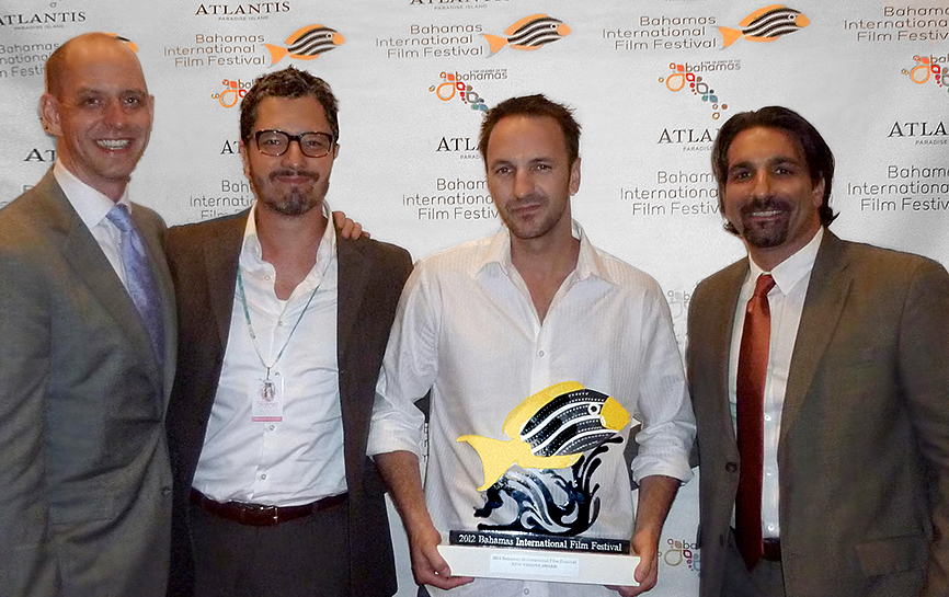 Mark Montgomery, Dominik Tiefenthaler, Michael Wolfe, and Robert Nicotra at the 2012 Bahamas International Film Festival. Winner Best Feature.