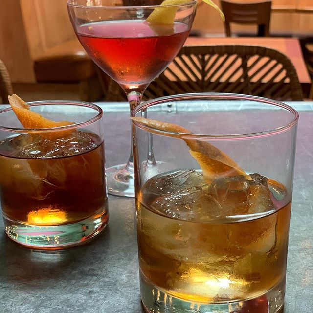 during Negroni Week, it's just Negroni's all day long... foreground of this pic shows off our lovely Oaxacan Negroni: @mezcal_yuu_baal espadín joven mezcal, @tequilatapatio reposado tequila, Granada Vallett, @thegrandpoppy3163 bonal aperitif, @vermutsmiro sweet vermouth, house mole bitters, burnt orange peel  #tacubayataqueria #fourthstreetshops #berkeleybars #negroni #negroniweek #negroniweek2019 #mezcal #tequila #reposadotequila #cochineal #oaxacamexico #housemadebitters #burntorange #aperitivo