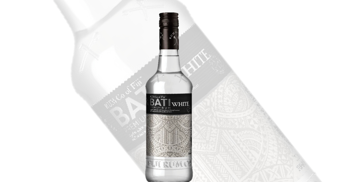 FIJI RUM CO. - BATI WHITE  LIKE NOWHERE ELSE ON EARTH, FIJI'S PRISTINE ENVIRONMENT BOASTS A MAGNIFICENT MOUNTAINOUS LANDSCAPE, DRENCHED WITH EQUATORIAL SUNSHINE AND WARM SEA BREEZES. OUR WATER IS RENOWNED AS SOME OF THE WORLD'S PUREST, WHILE OUR SUGAR CANE IS GROWN IN ANCIENT VOLCANIC SOIL AND WARM FIJIAN CLIMATE, THEN EXPERTLY HAND-CUT BY THOUSANDS OF INDEPENDENT FIJIAN FARMERS.  A CLEAR AND BRIGHT RUM AGED FOR 2 YEARS IN LARGE WHITE OAK VATS. GENTLY FILTERED THROUGH COCONUT SHELL CARBON TO ENSURE IT RETAINS THE FRESH, CITRUS AROMA AND SOFT VANILLA OAK TASTE.