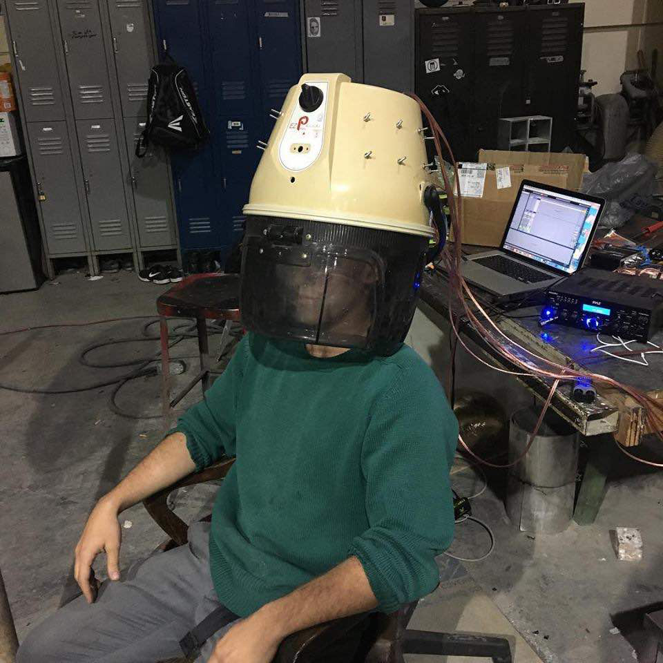 This Audio Submission Headset was created as a sound experiment during  my research at the Gowanus Ballroom. While this headset uses  electricity, they both illuminate my large body of audio driven  sculpture pieces that bear interactive elements.