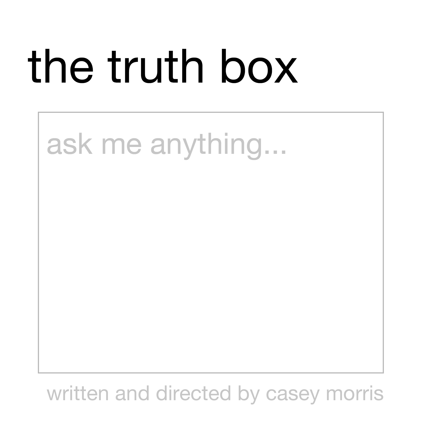 """Logo for """"The Truth Box"""", 2019."""