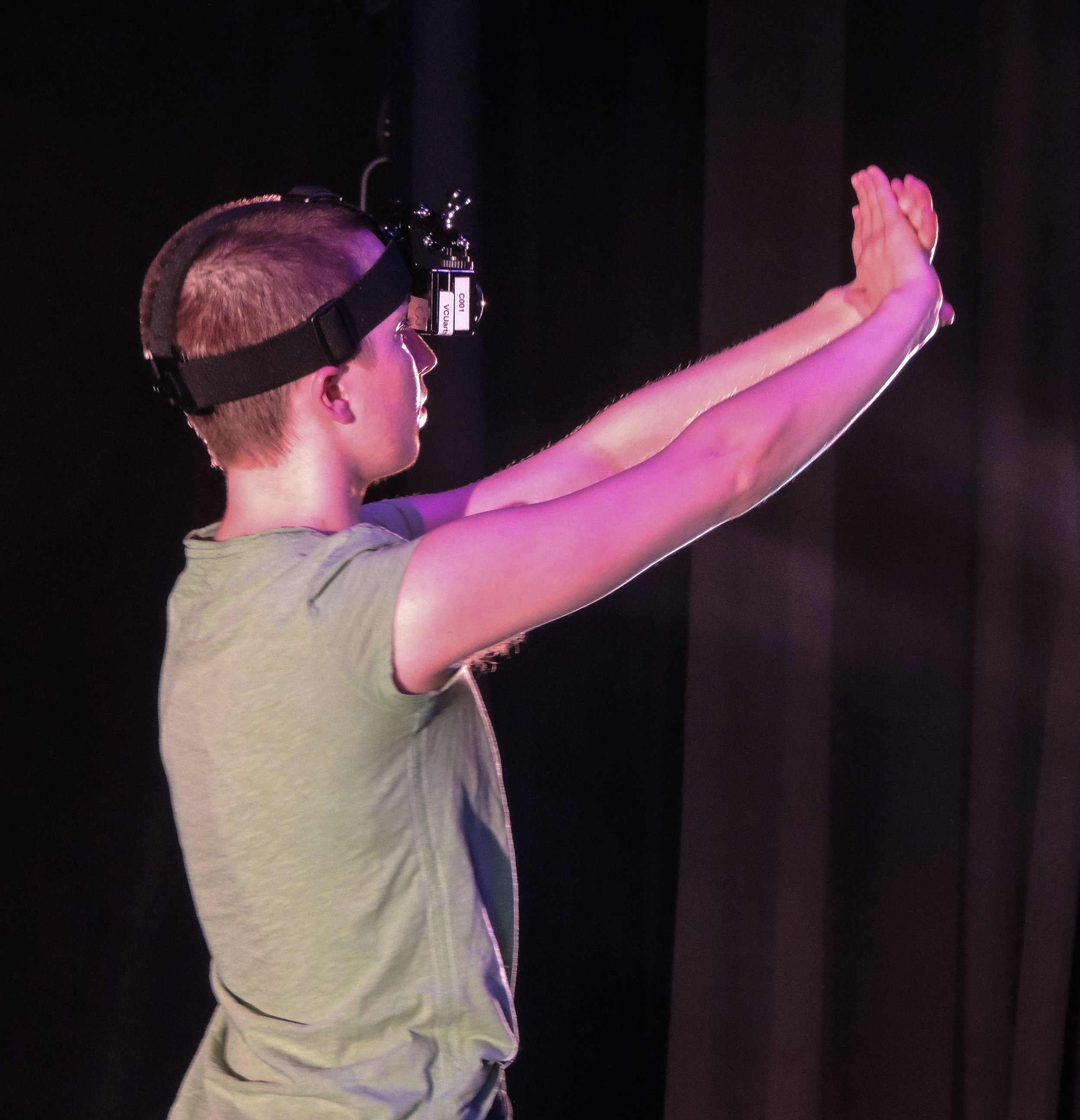 Dancer Len Foyle performs choreography while wearing a 360 degree camera in order to film one of six embodiment experiences for Familial Movers / Foreign Stories.