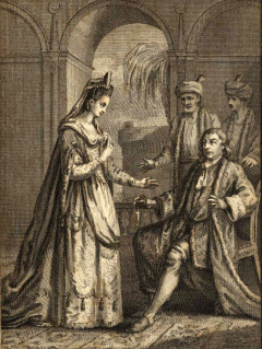 David Garrick as Lusignan and Elizabeth Younge as Zara in Act II, Scene 3 of  Zara  (London, 1774). Engraved by E. Edwards after Collyer