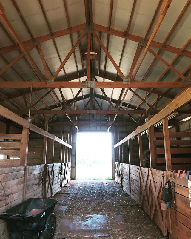 Barn architecture. Our barn is extra special because the inside was built by hand by our Poppy. He designed the stalls and cut and nailed every board in place. I keep thinking that if we ever decide not to have horses, I want to renovate the barn into a house and definitely repurpose the wood beams. I think @hgtv.fixerupper did that!