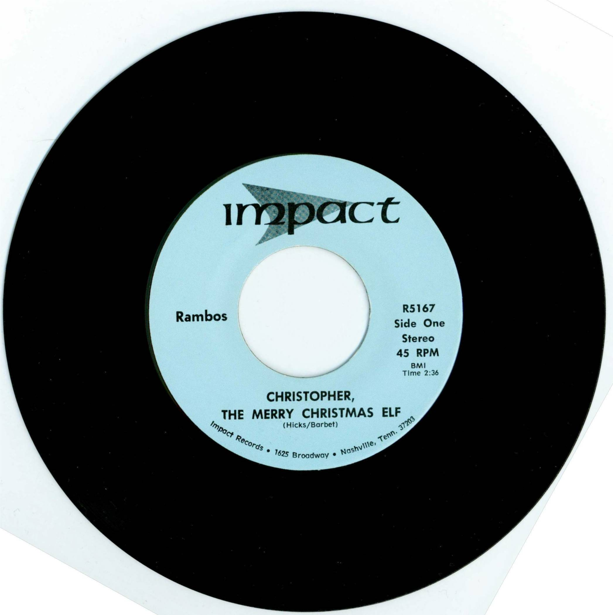 CHRISTOPHER THE MERRY CHRISTMAS ELF  45 Single 1974