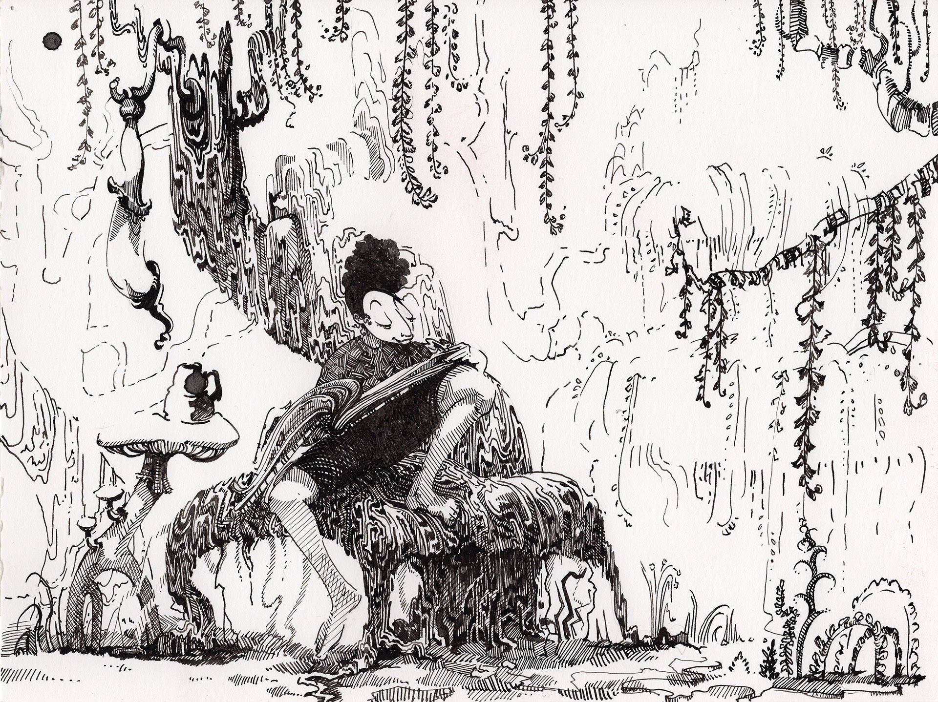 A drawing in a drippy fairytale world I've been building for fun. Ink on paper