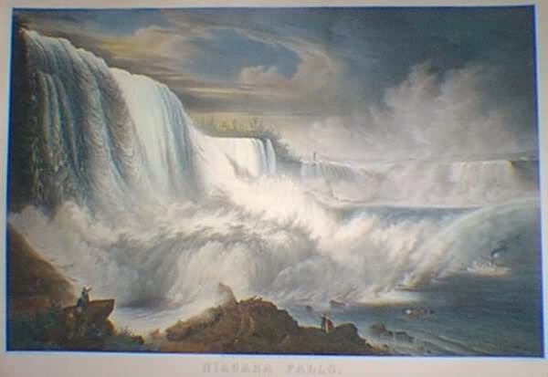 "This is below the American Falls where John Morrison may have kept his boat docked.   John Bornet.  ""Niagara Falls, American Side.""     New York: Goupil & Co., 1855."