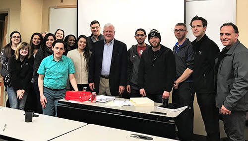 Executive Director Ralph Biedermann with a group of students from the University of Indiana Northwest's Business and Economics Program on the occasion of a discussion of NAFTA and the ongoing renegotiation efforts.