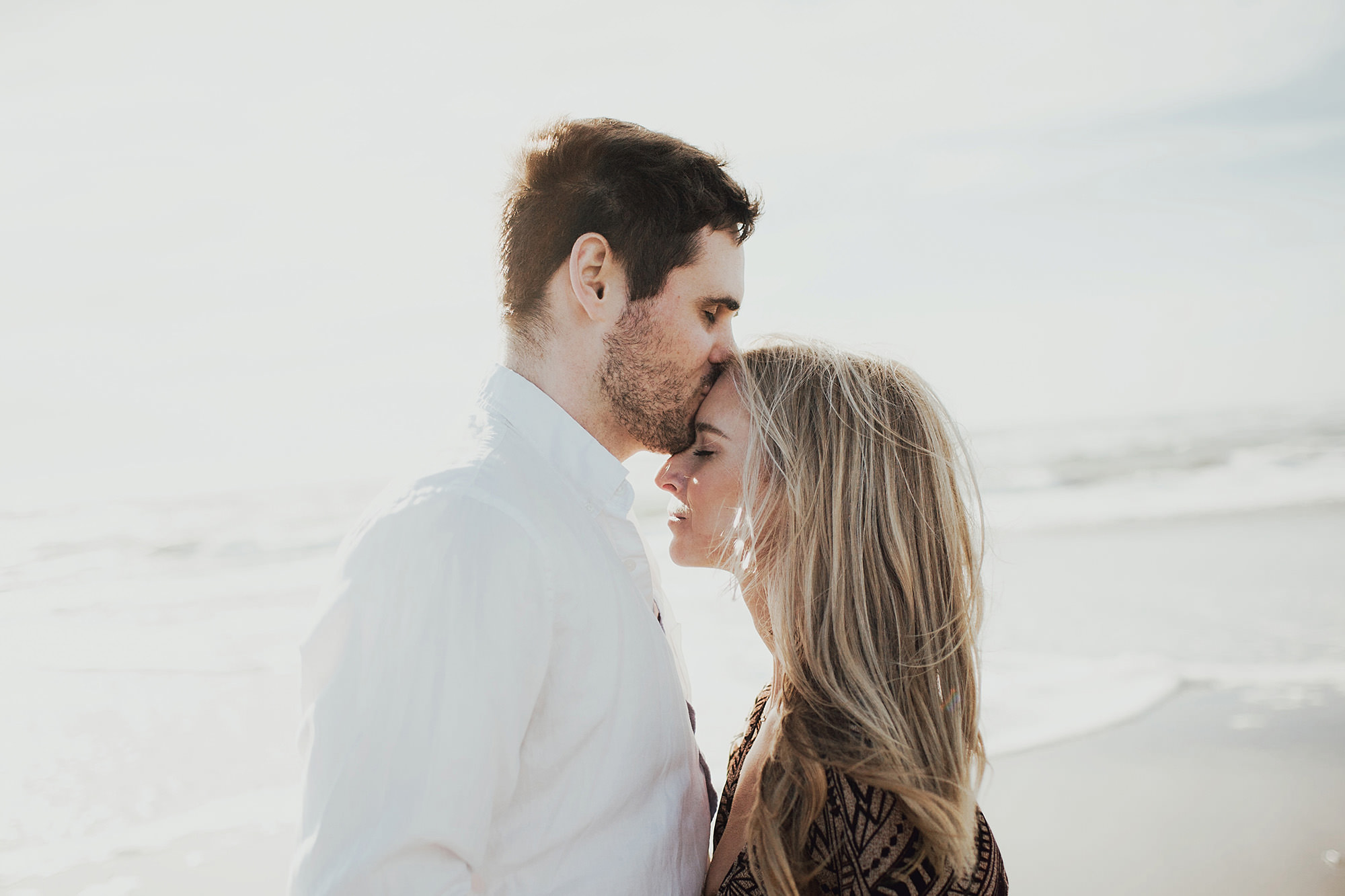 sunset beach engagement photography