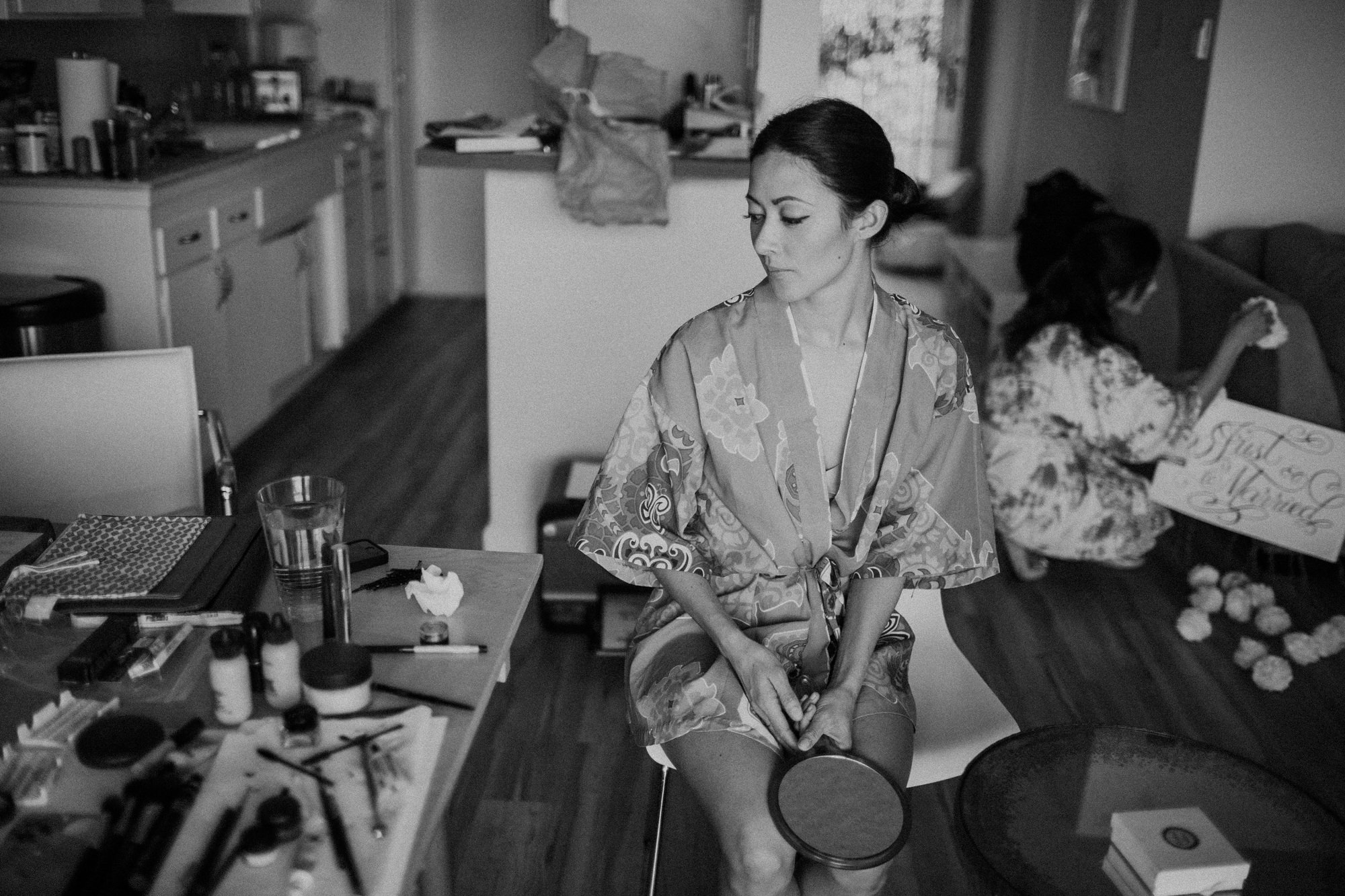 Jen getting ready on her wedding day