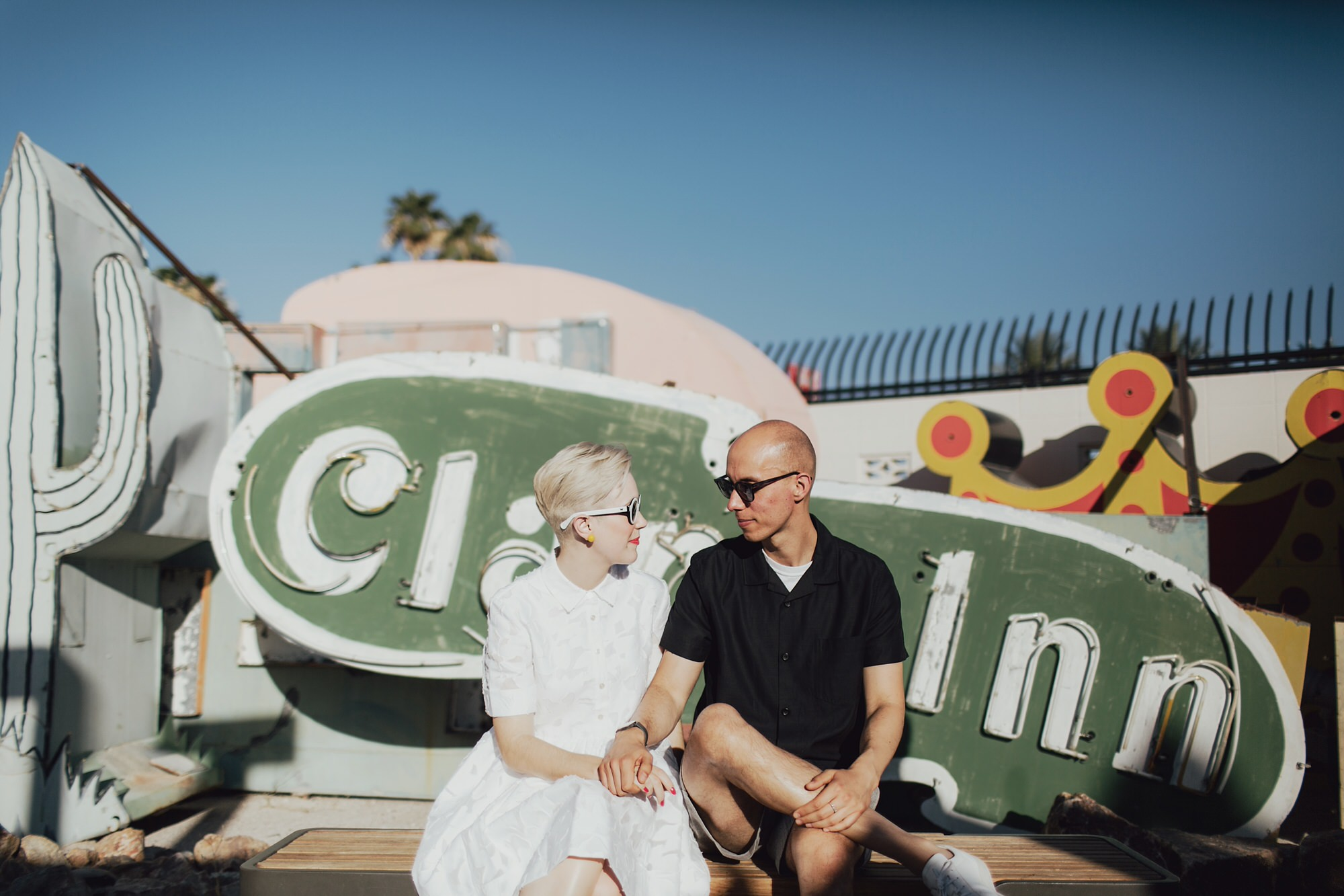 mat and hollie at the neon museum