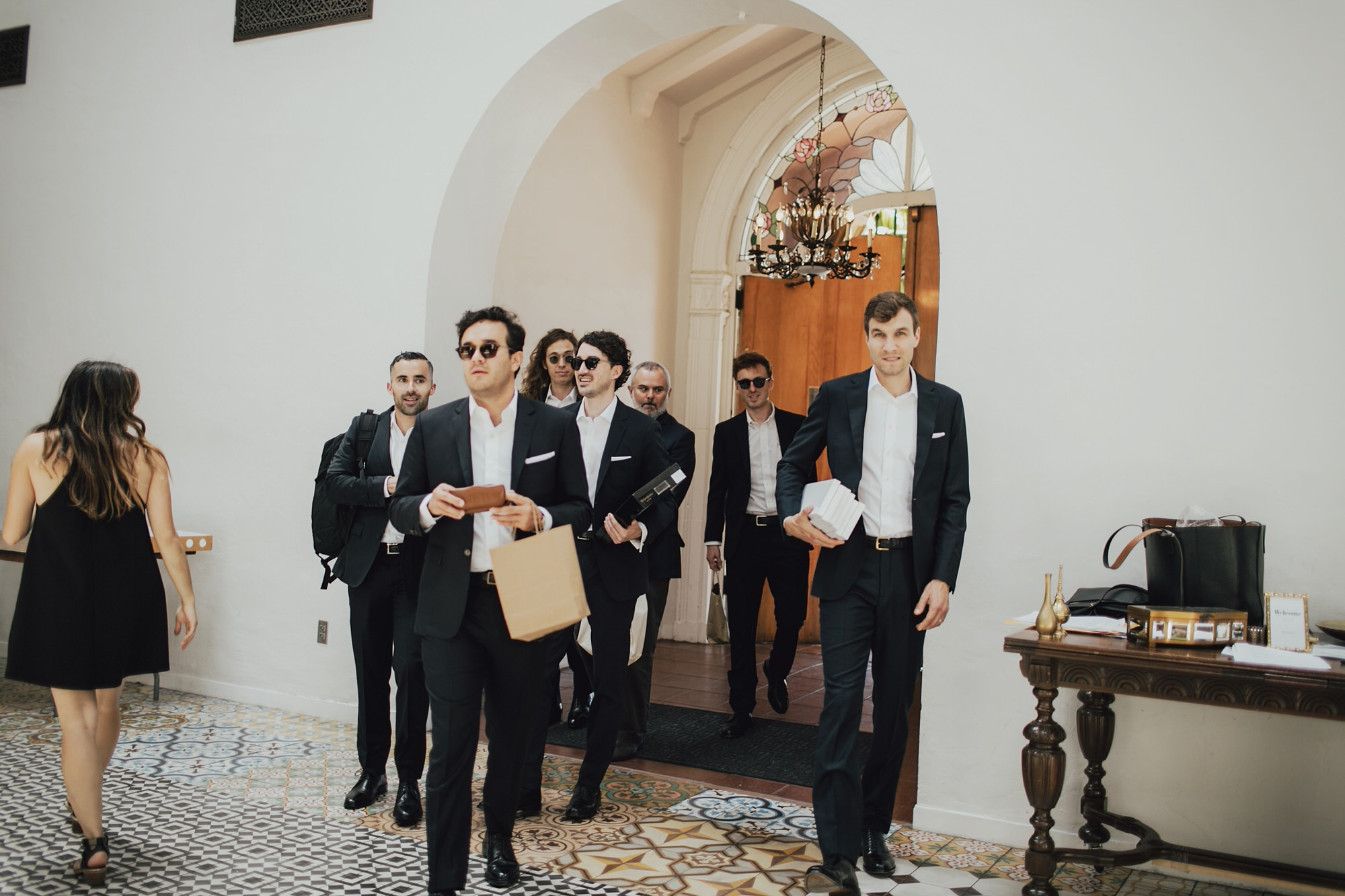groomsmen arriving at the ebell in long beach