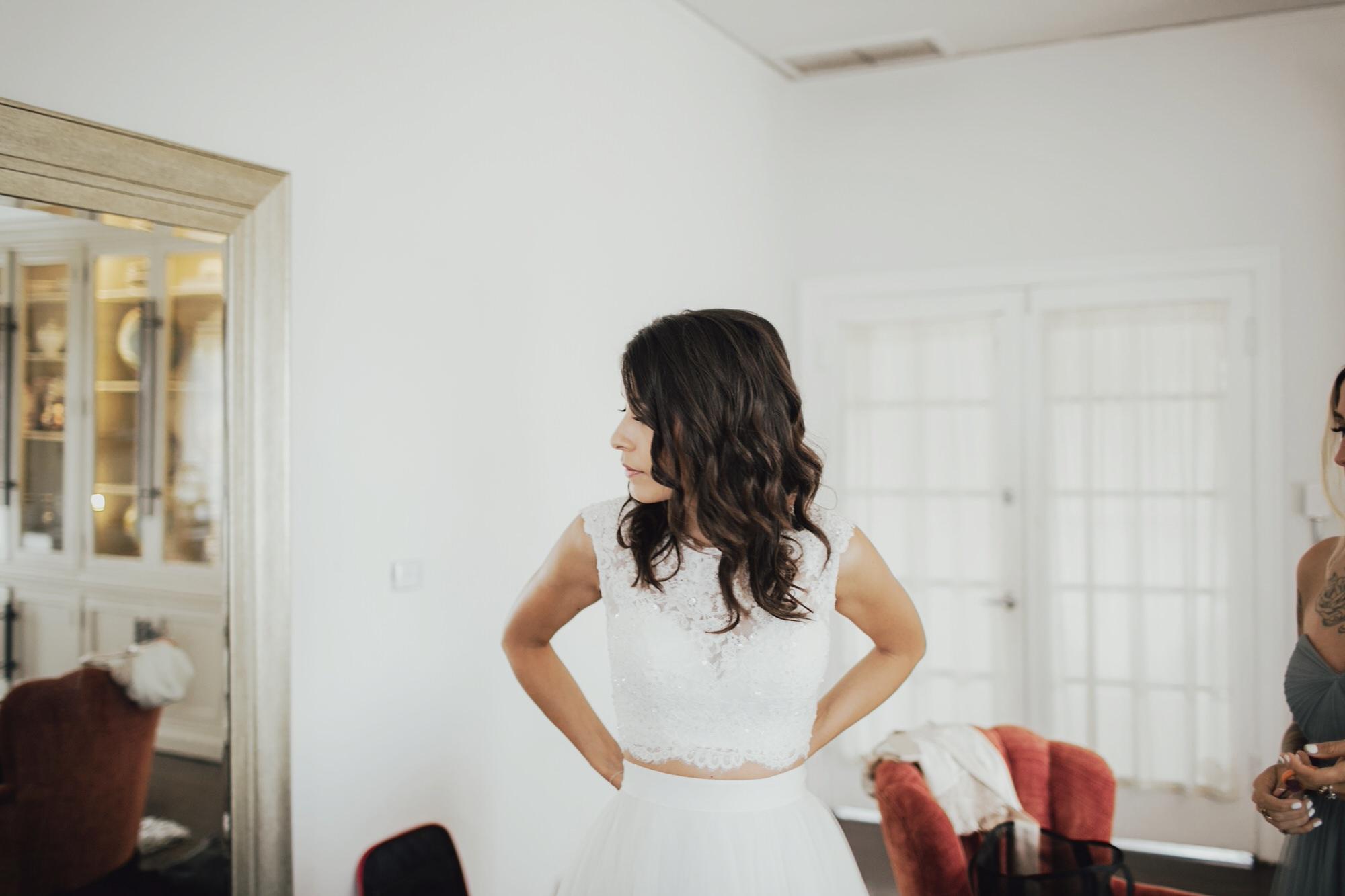 christine on her wedding day