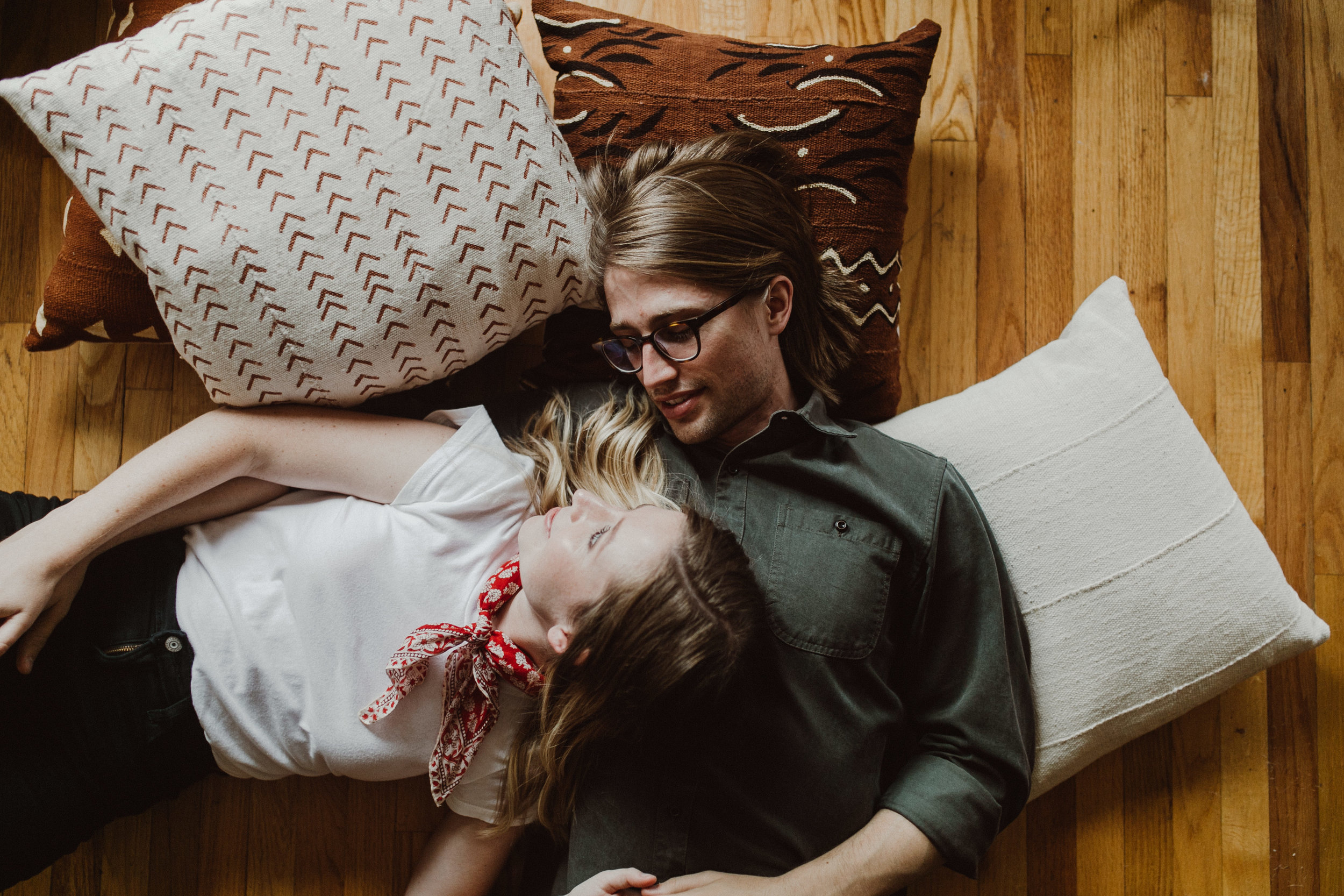 engagement photos in bed