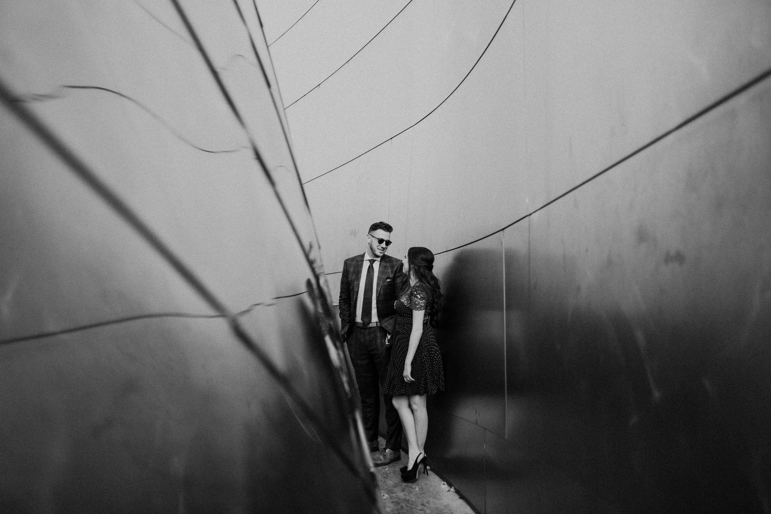 black and white engagement photography