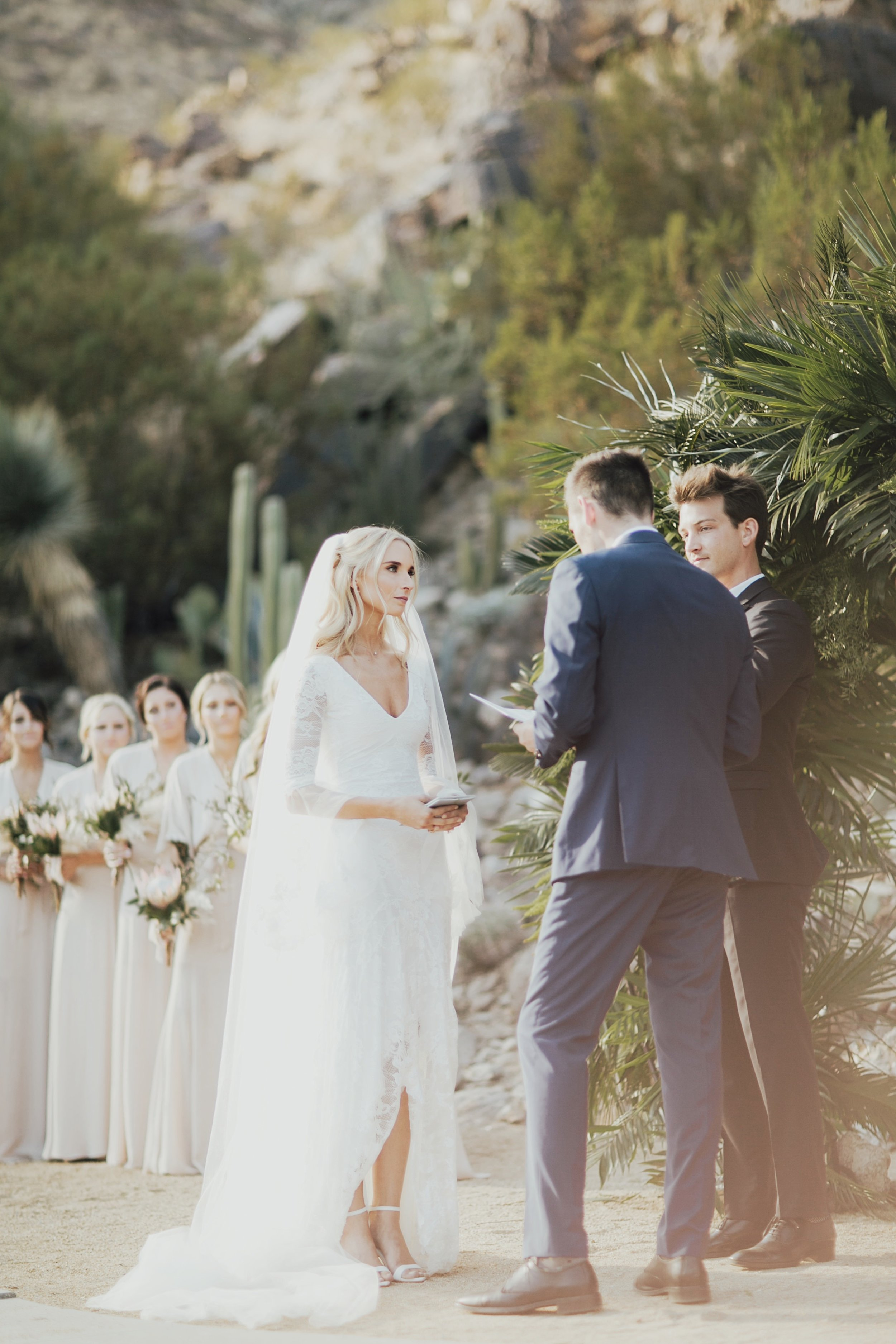 dreamy light during the ceremony in palm springs