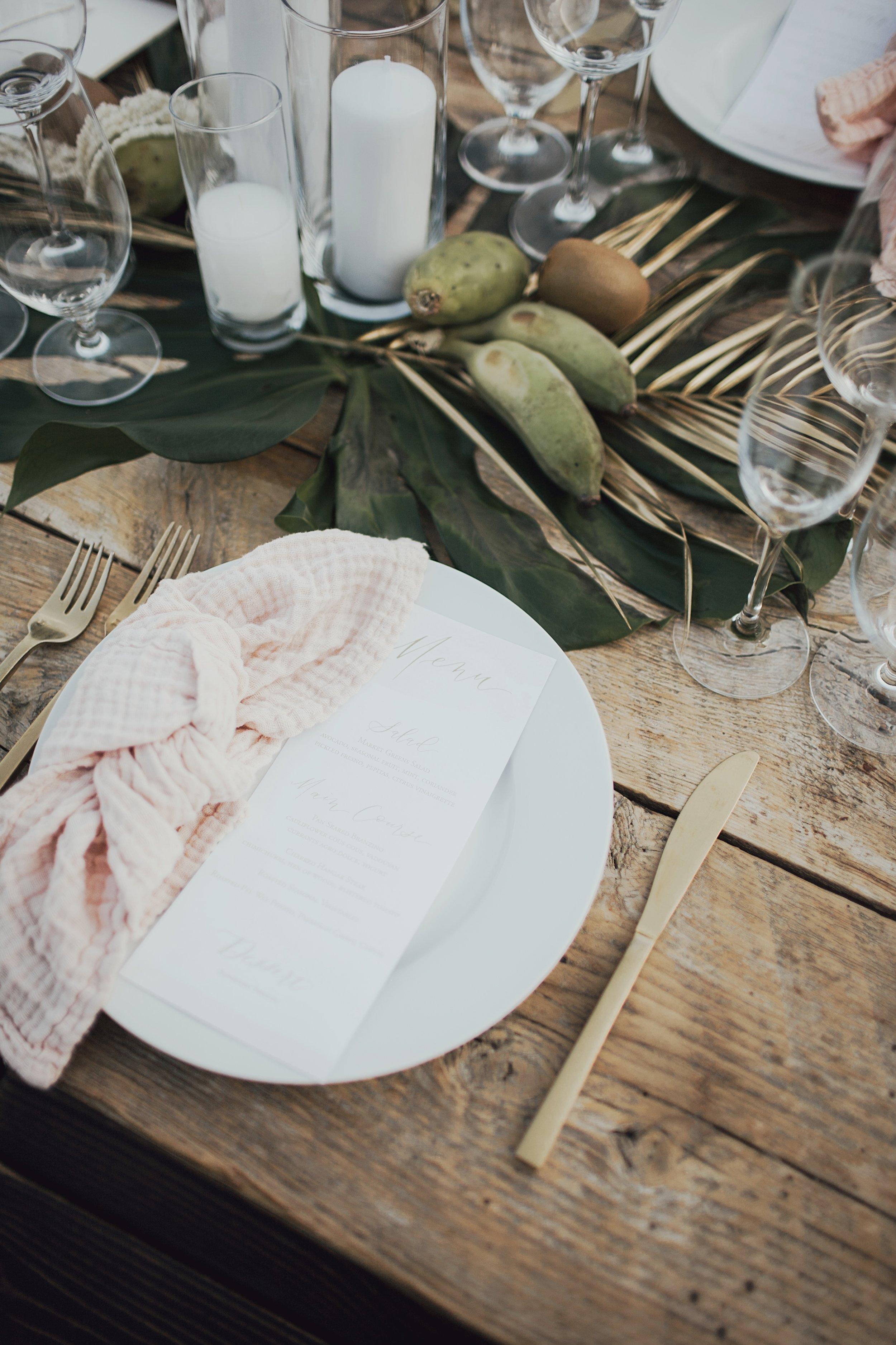 desert inspired wedding reception details