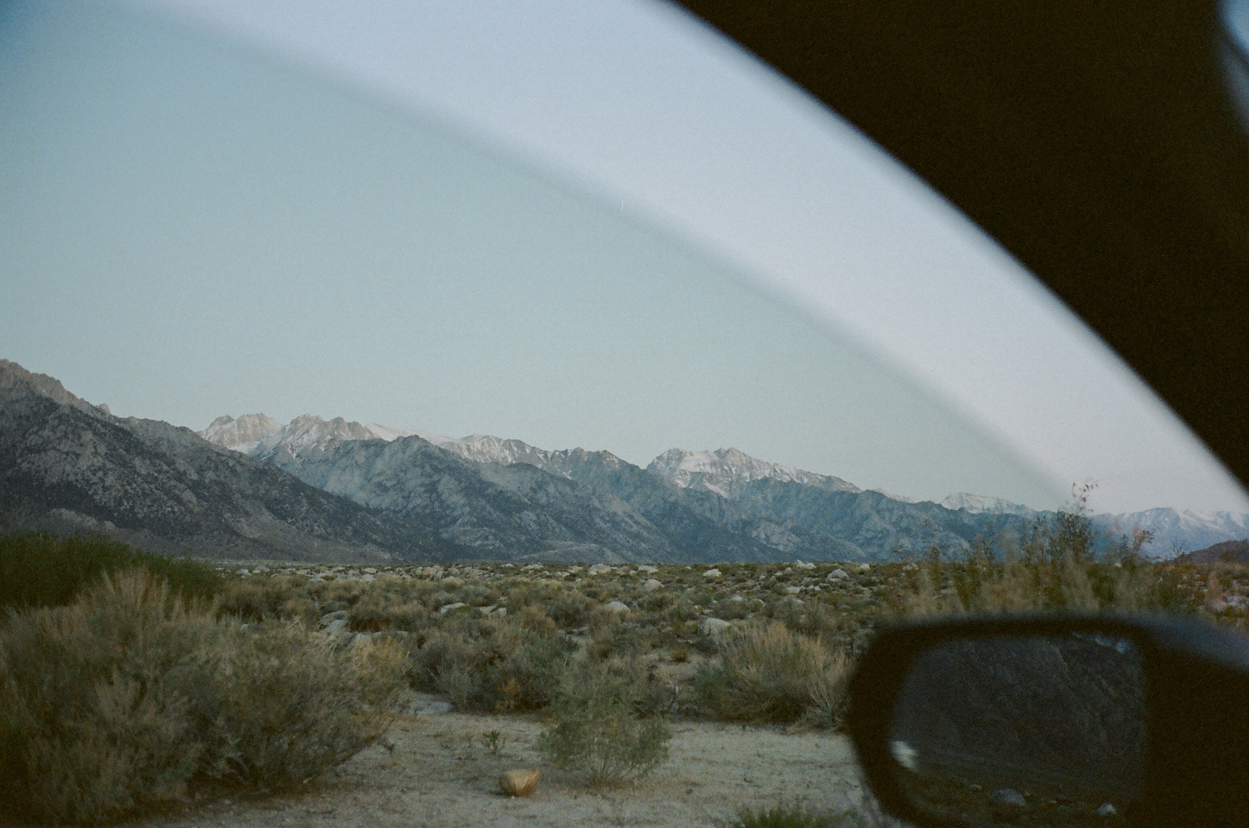 Mountain views through the car window
