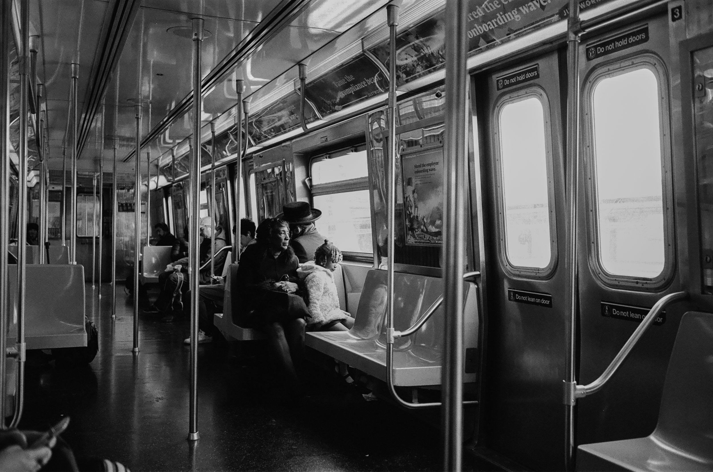 Subway ride home after church on Sunday in Brooklyn