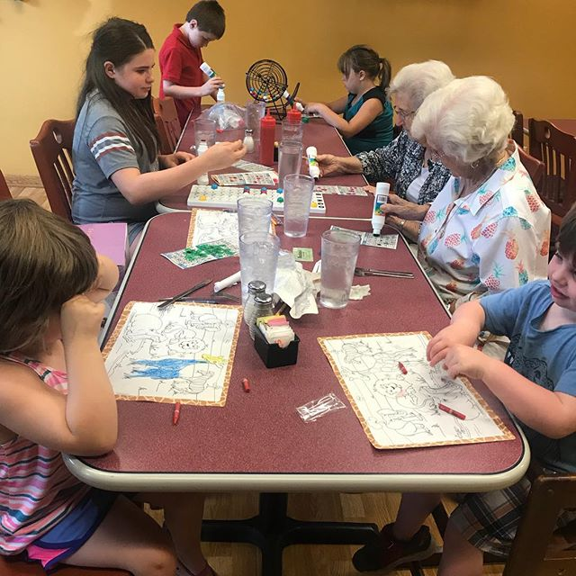 Going to dinner with Great-grandma's or any adults plus your five kids? Bring a board game or a real bingo game to the table. Kids never notice the wait. #homeplacewisdom #celebrateeverything