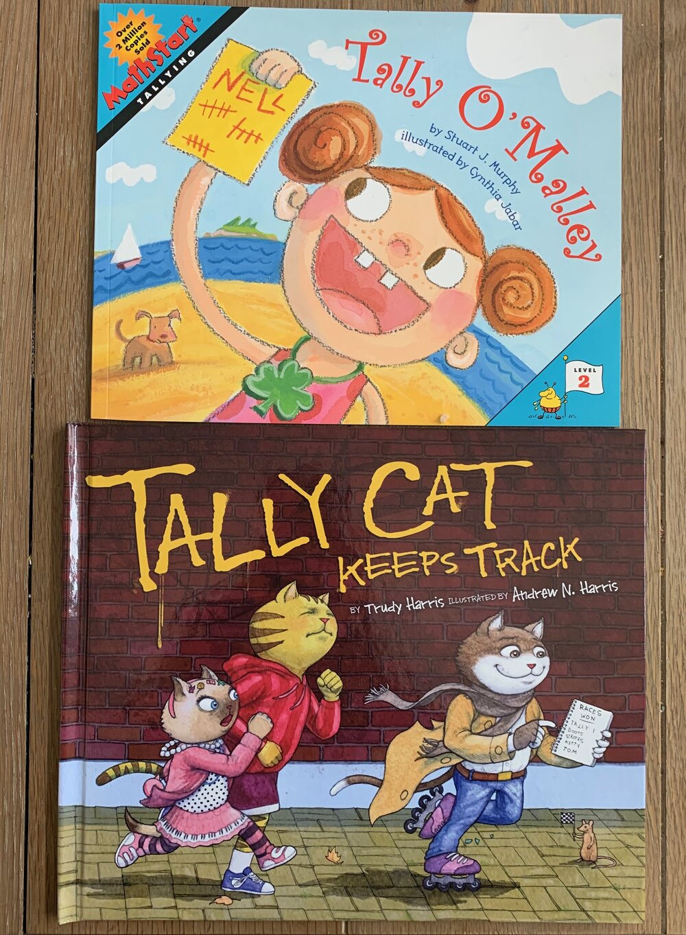 Introduction to the fun and games of tallying with  Tally O'Mally  and  Tally Cat Keeps Track