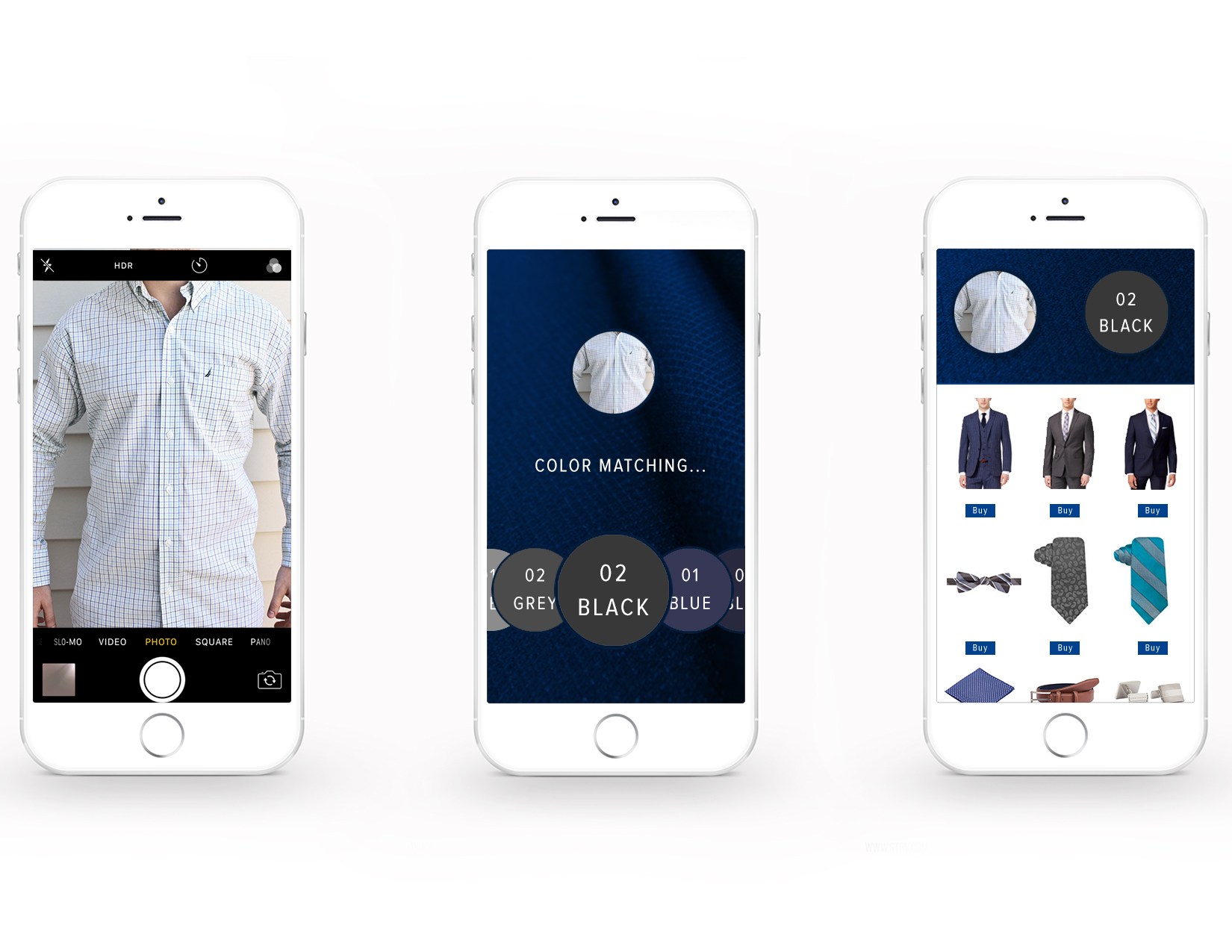 With the Color Match Application, take a picture of your favorite shirt or piece of clothing and find Distinction Clothing and Apparel that match. Matching clothes can then be purchased and sent to your home.