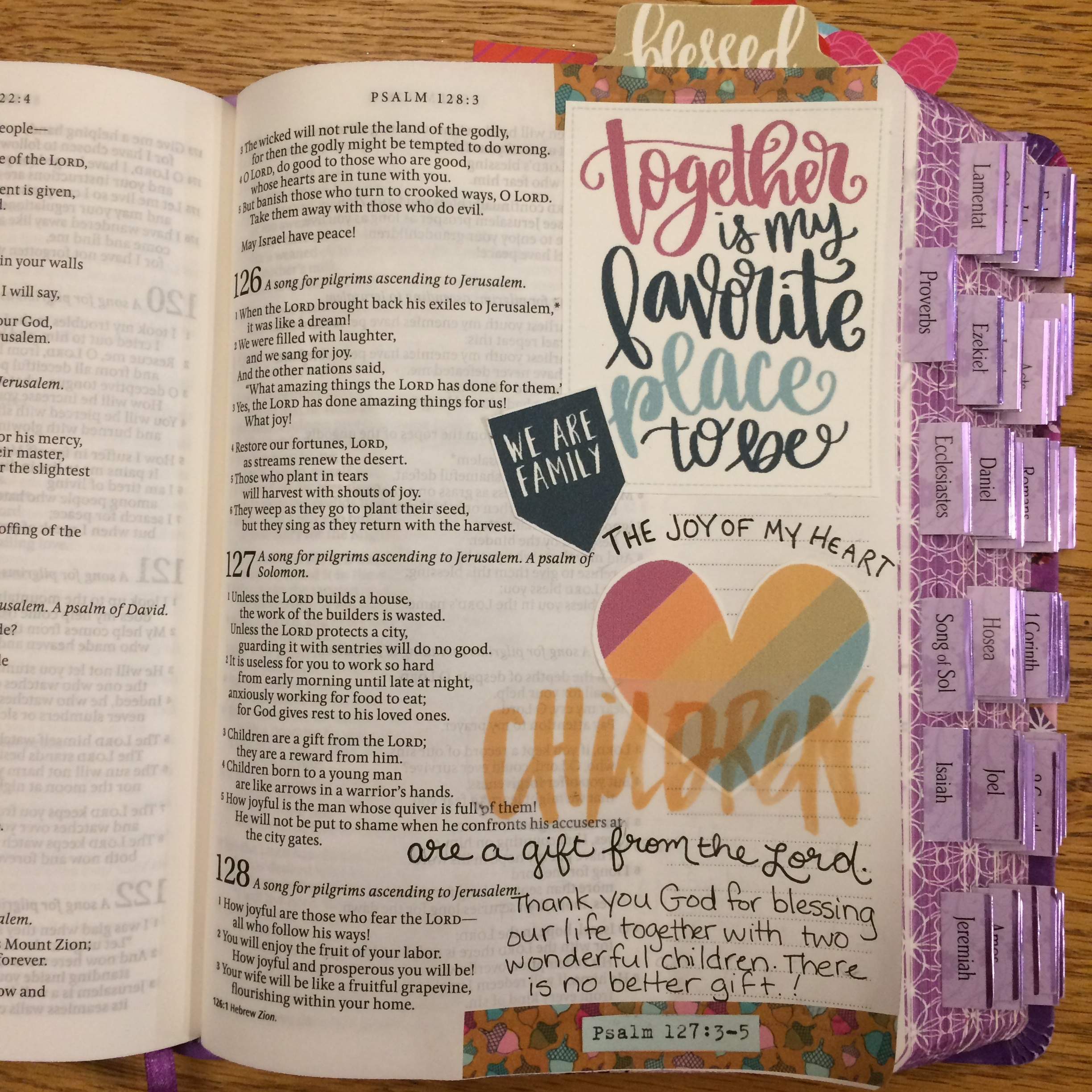 """Sally Sulcove   I've been working through the prompts for Gratitude Documented. This next page focuses on my children. The page came together super quickly using the """"Room at His Table"""" printable from the Illustrated Faith Print and Pray Shop. I just cut and paste."""
