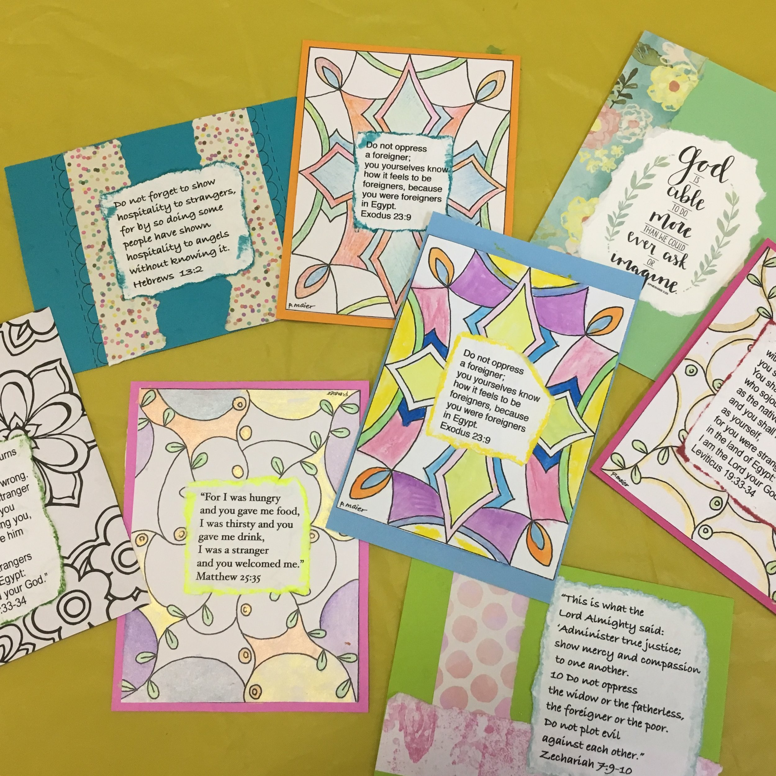 We printed off the Bible verses and then they could simple be added to the prayer cards. Prayer time finished them with watercolor and colored pencil. May these families be blessed.
