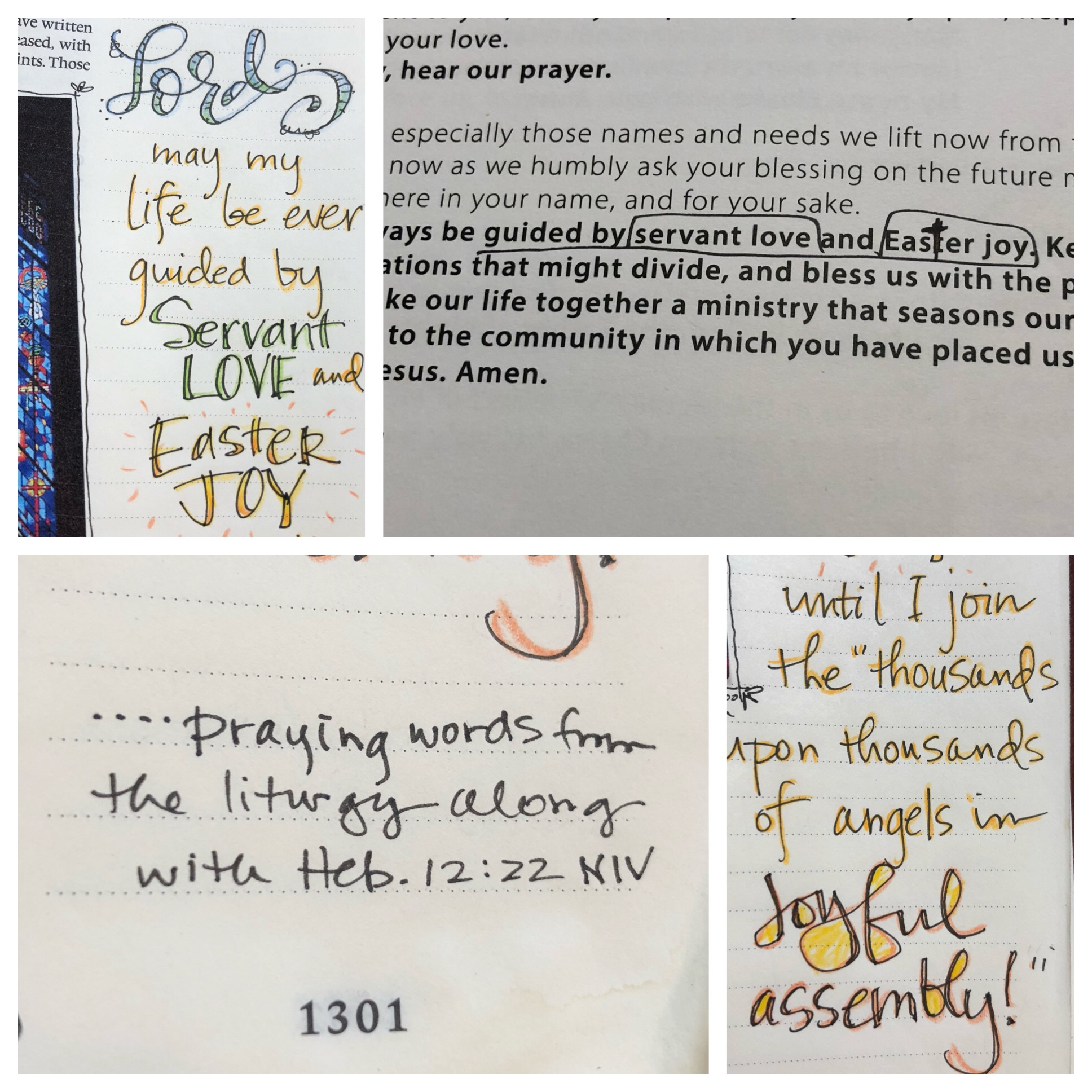 Thought-provoking words circled during a prayer within the liturgy were joined with God's Word from the theme verse in Hebrews 12:22 to create a prayer in the margin.
