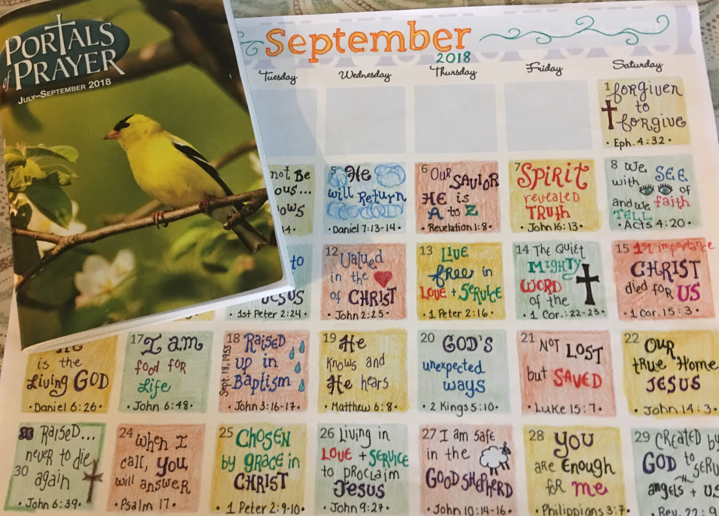 Adding in the Scripture references allows a return to the calendar for meditation and to see just where the readings have led Visual Faith Coach- Jamee Thieme. The calendar method can be used with ANY devotional or Scripture reading practice. The calendar is just a tool to chart the journey.