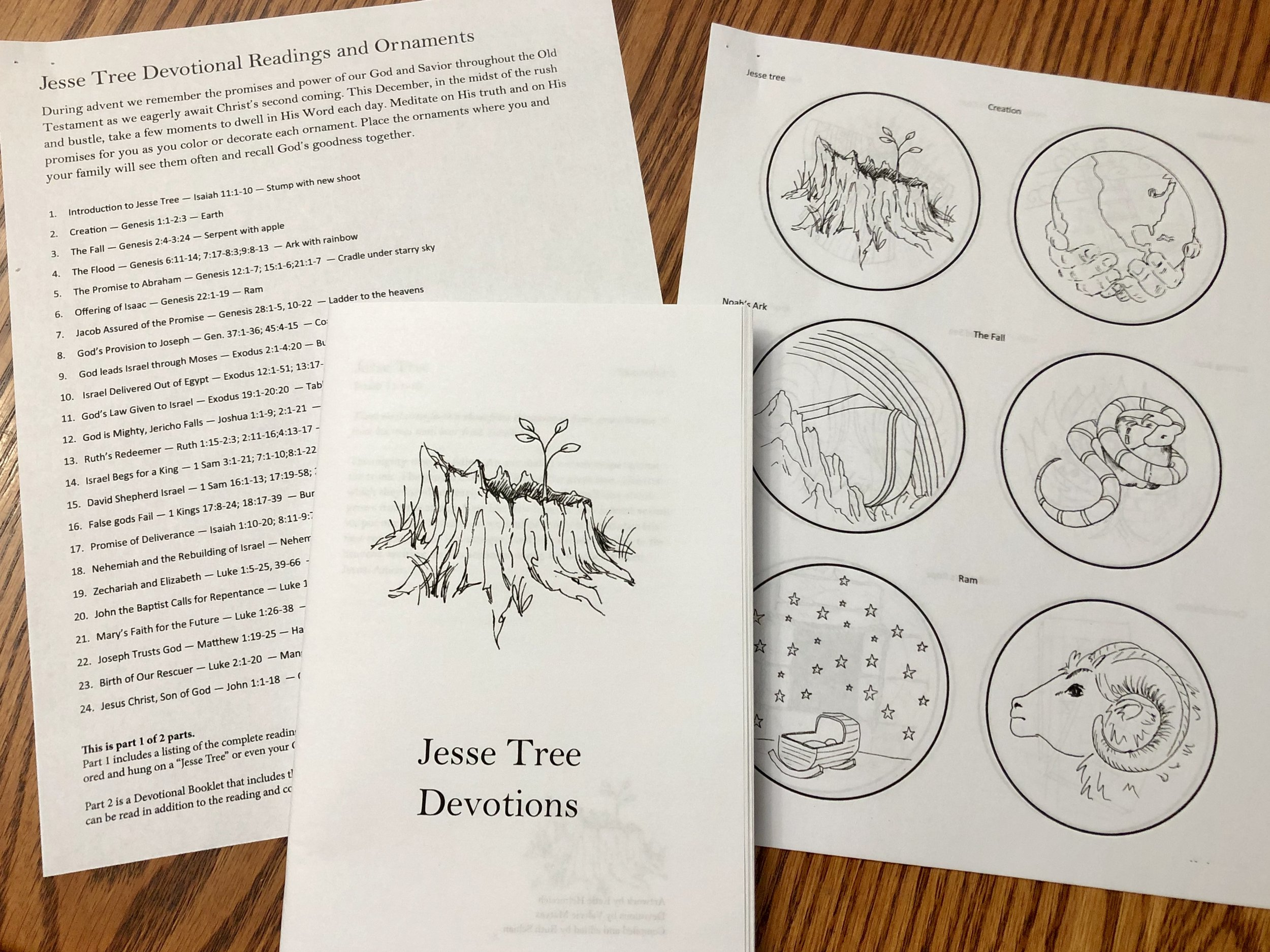 Jesse Tree Devotional Readings, Devotions, and Ornaments to Color