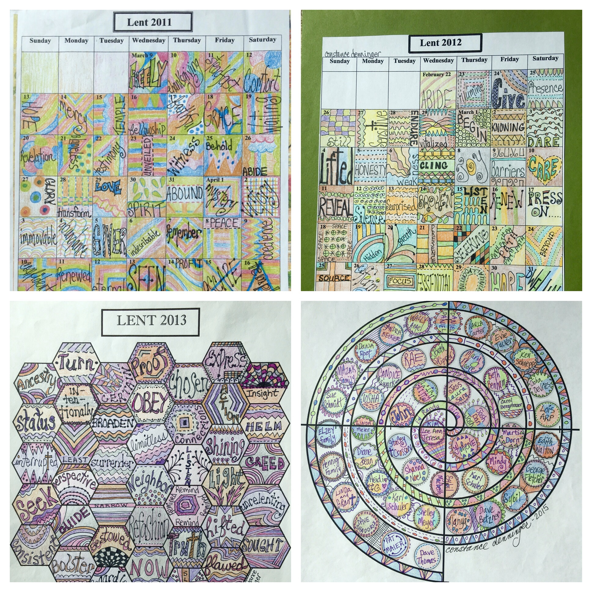 Early Lenten calendars by Connie Denninger - templates by Sybil MacBeth of  prayingincolor.com .