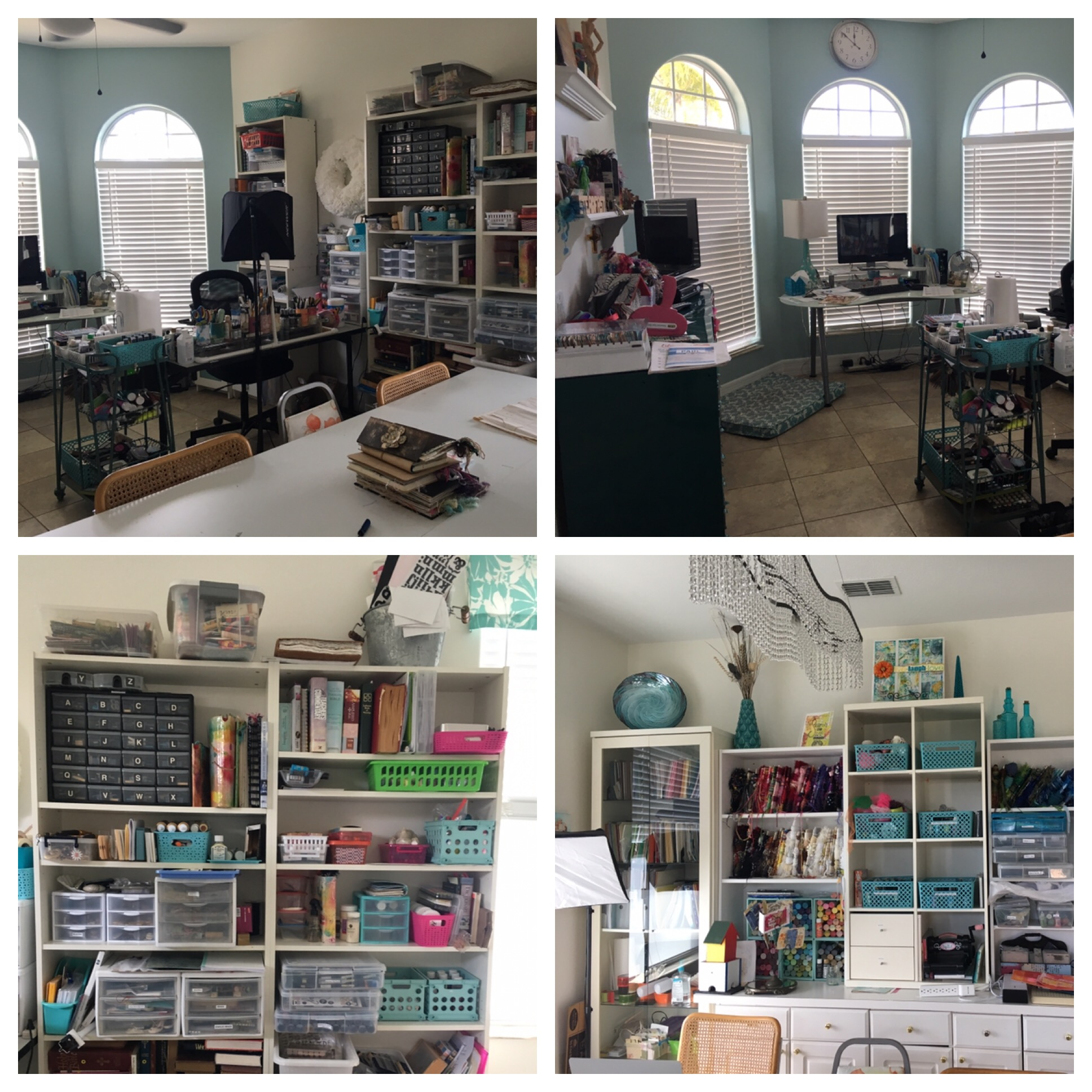 Diane as a beautiful studio and keeps her supplies organized and ready to grab for creating the next project.