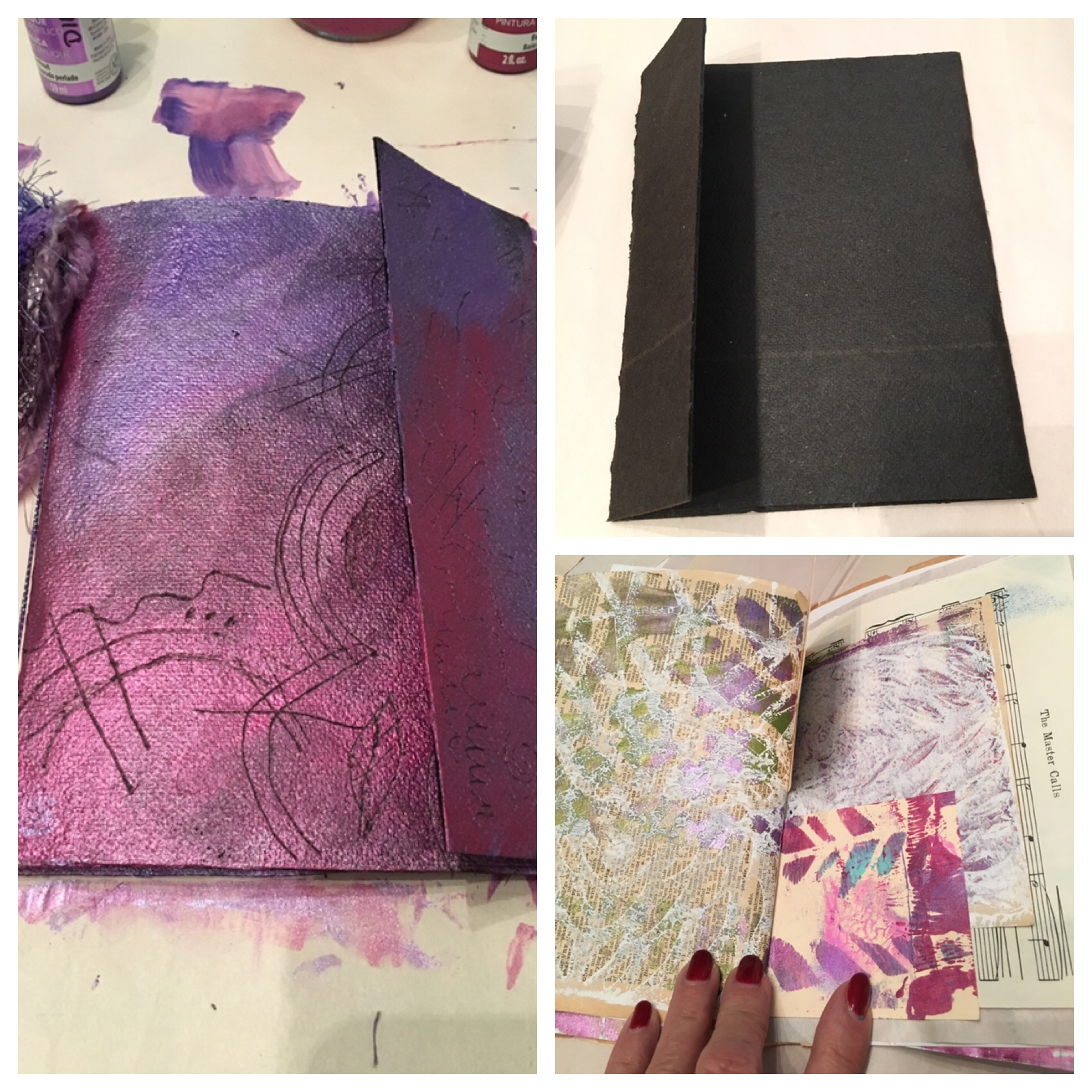 "After ""making our papers"" we then created journals. We used roofing tar paper for the journal cover and added assorted papers. We added sgraffito designs to the cover. Still thinking just how these journals might become a very special addition to a Visual Faith project."