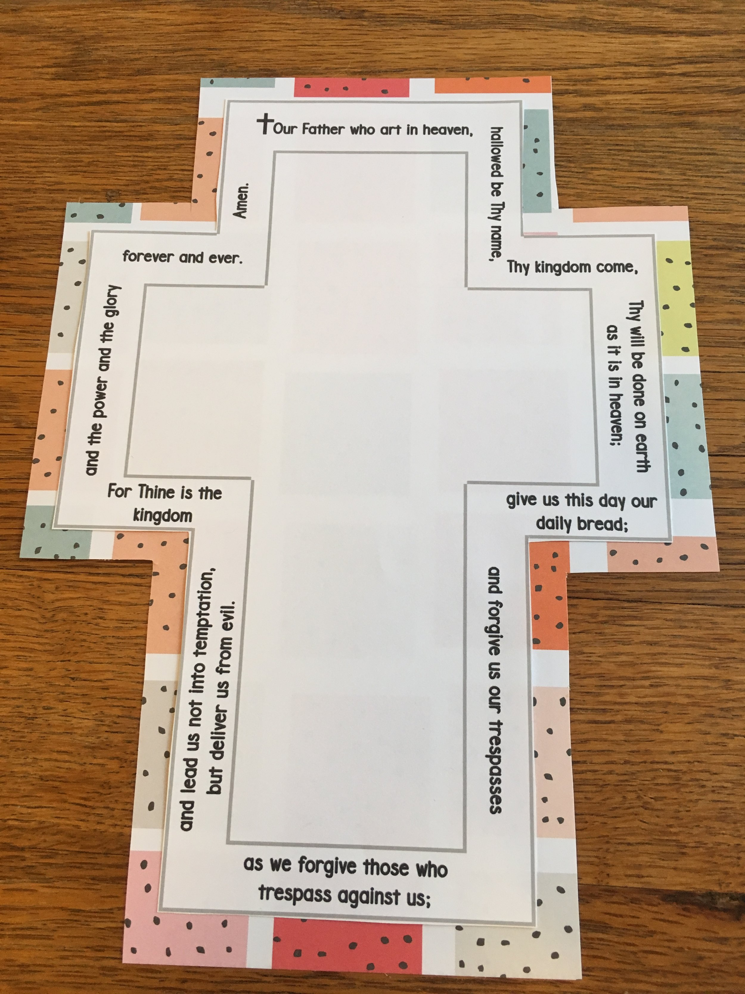 Simply cut out the cross and mount on double-sided printed cardstock with double-sided tape or a glue stick. Then cut out with a border of 3/8- 5/8 inch.