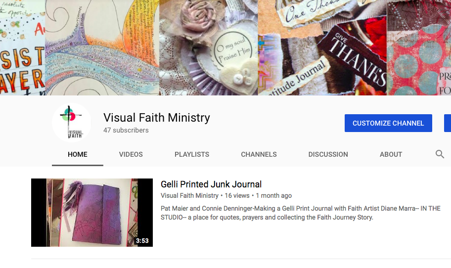 YouTube is one of the ways we can gather the individual stories to build a better picture of all the ways that practitioners find to make Him known in their faith stories. This highlighted journal shows the end product of a day of gelli printing techniques that culminated in a junk journal created with a roofing tar paper cover.