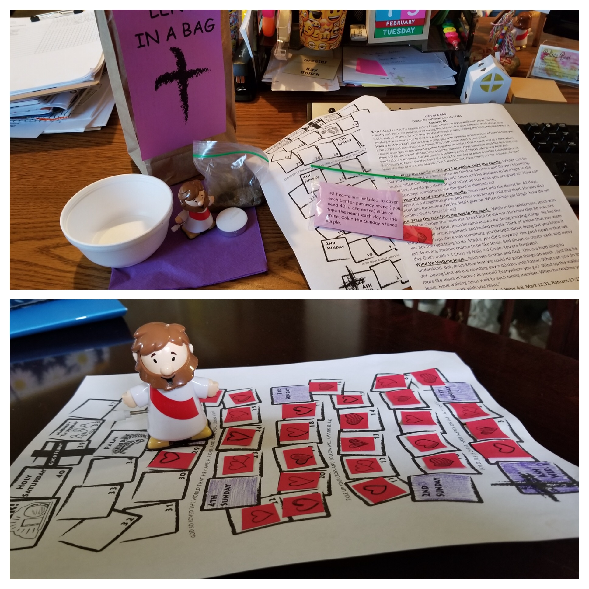 This shows part of the journey of Children's minister and Visual Faith Coach Belinda Bost who shared the Lenten practice that was distributed in her church community in Conover, North Carolina. What a great way to add a dimension that is doable by a family system together.