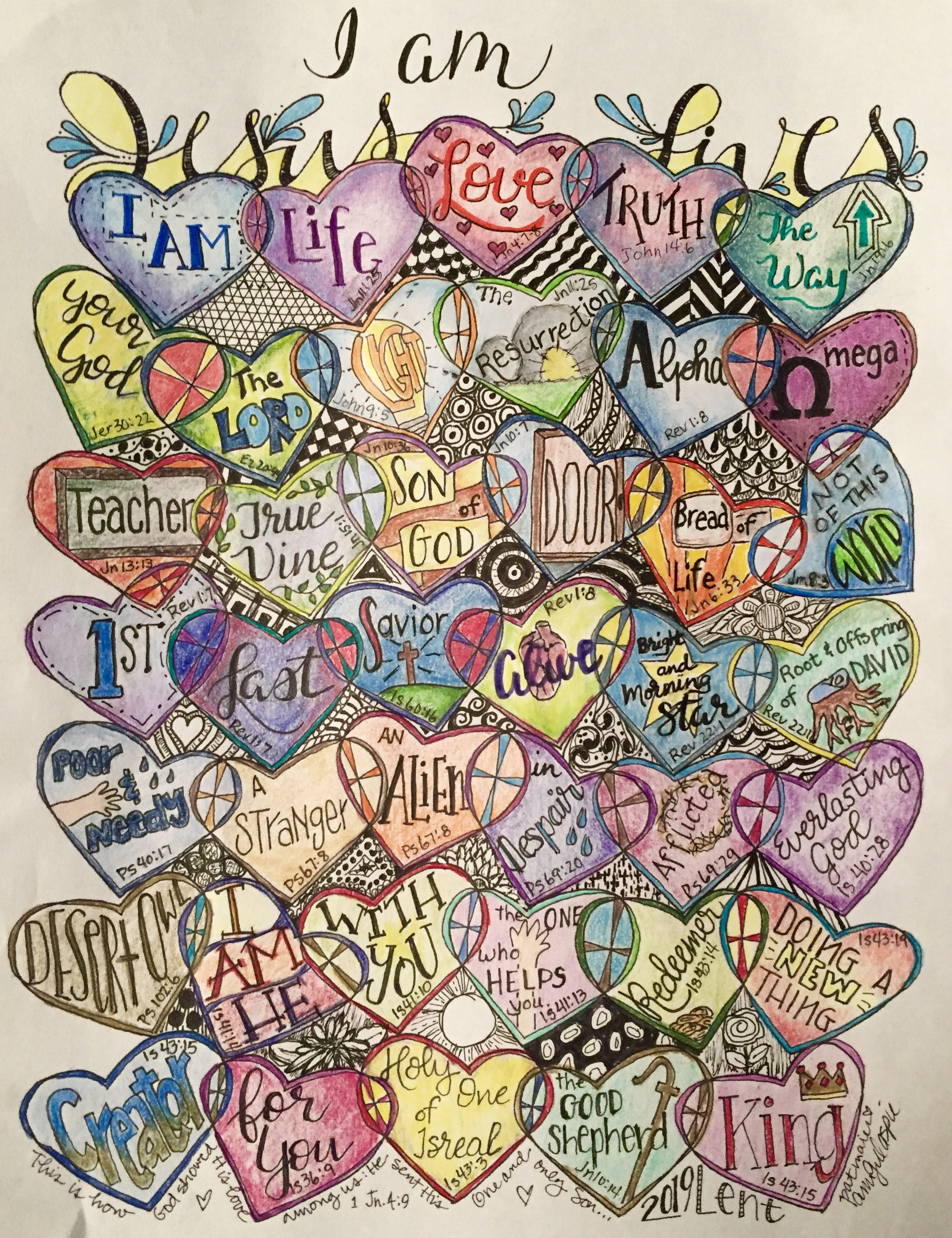 The I AM statements were the focus for Lent for Ann Gillaspie- a Visual Faith Coach. She enjoyed doodling in t the negative spaces as she continued to contemplate what the I Am statements meant to her.