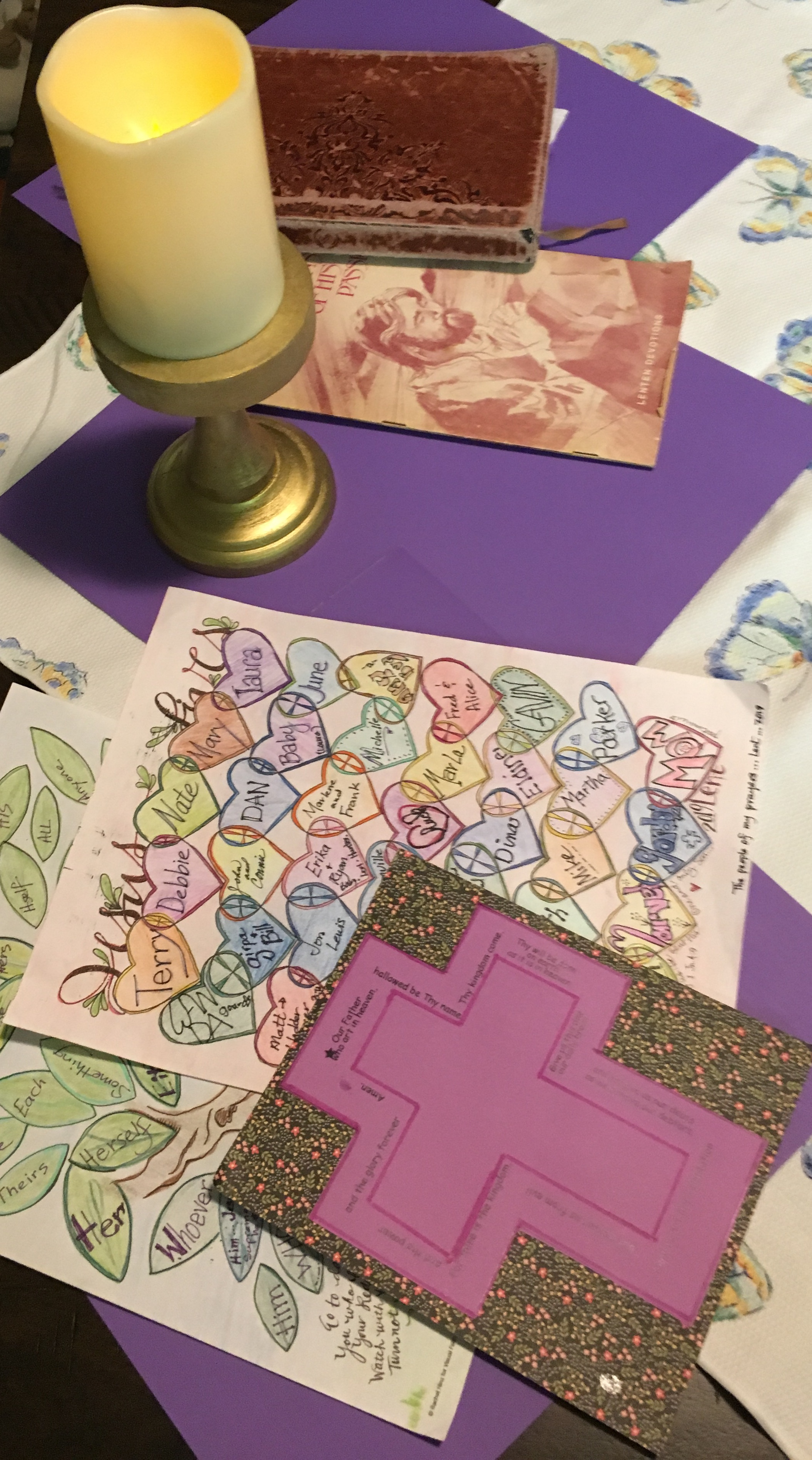 "Deaconess Sally Hiller shares some of the visuals for her Lenten journey- which includes a devotional station, traceable Lord's Prayer cross, and coloring calendars. Sometimes having the spot for meditation makes it ""doable."""