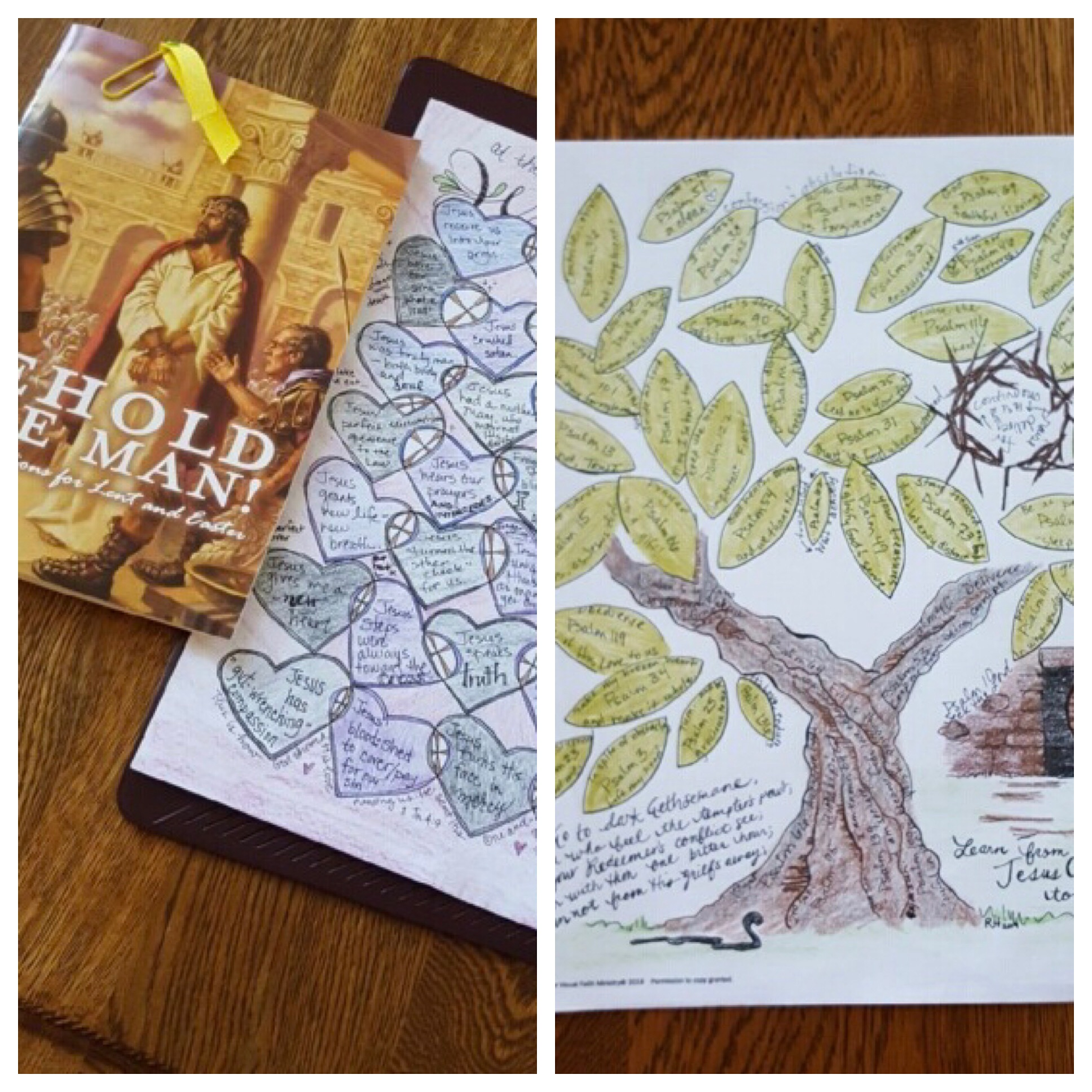 Books, blog posts and short Lent devotional readings can all be the stimulus for collecting words and phrases for a calendar. The time spent coloring allows the space for the Holy Spirit to help make the application to our own lives. Thanks to Visual Faith coach- Eden Keefe- for sharing her images.