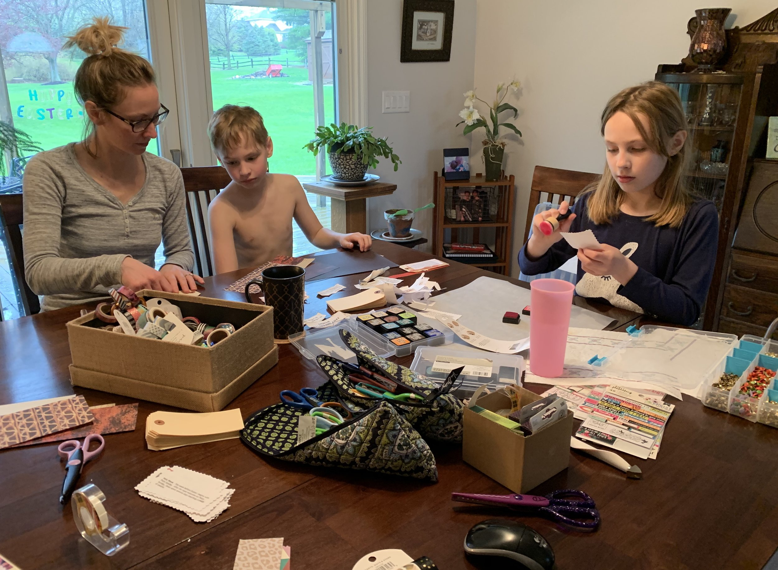 The Middendorf family worked on the Lent and Easter tag project together on Holy Saturday—-  Miss Leighton (on the right) is eagerly exploring processes as a Junior Visual Faith Coach.
