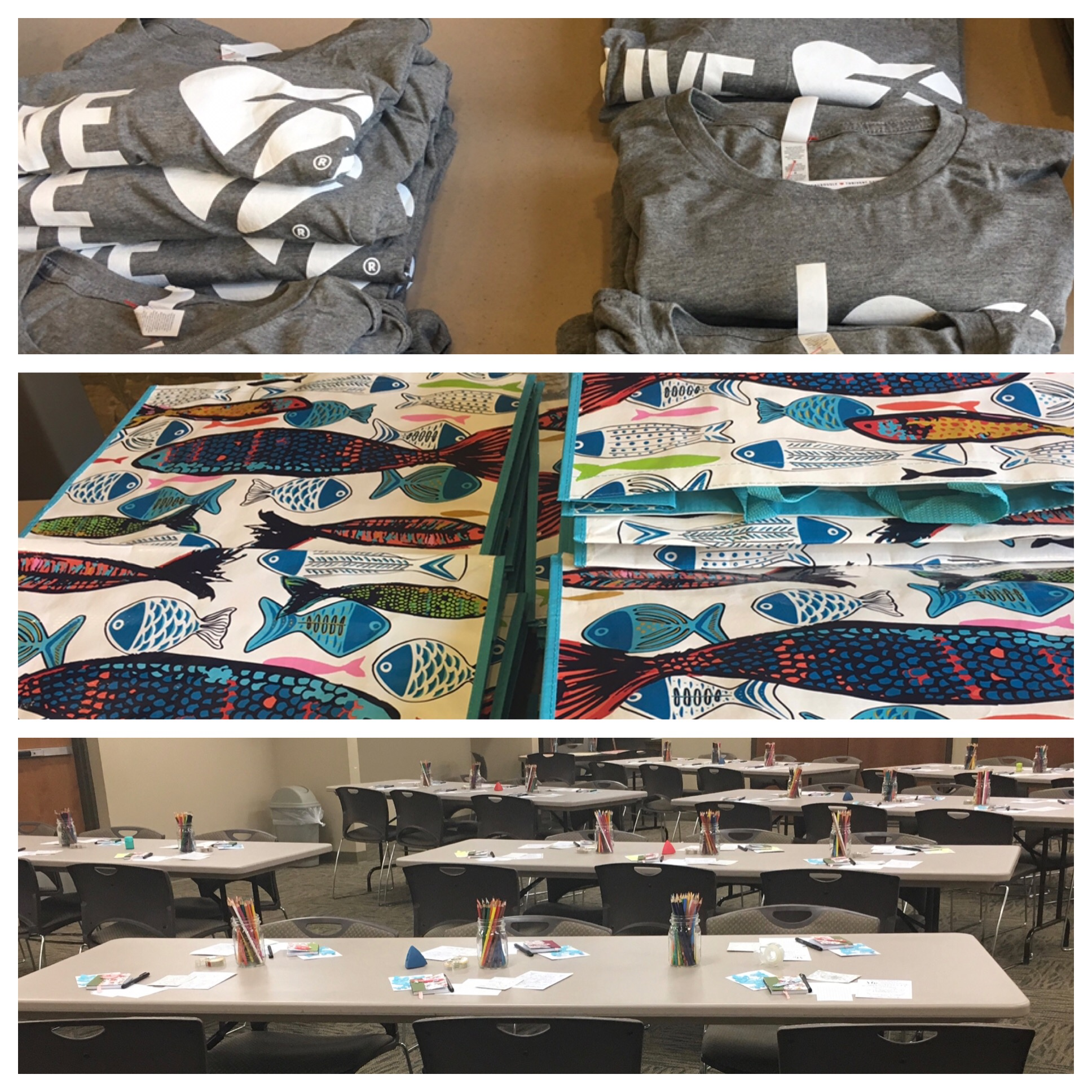 Emmanuel Lutheran Church in Fort Wayne, Indiana hosted a Visual Faith event on April 27, 2019.  Thrivent Grants were a big help in putting together the event. Bags all ready to gift to those attending.  Tables set ready to welcome those coming for the Saturday event.