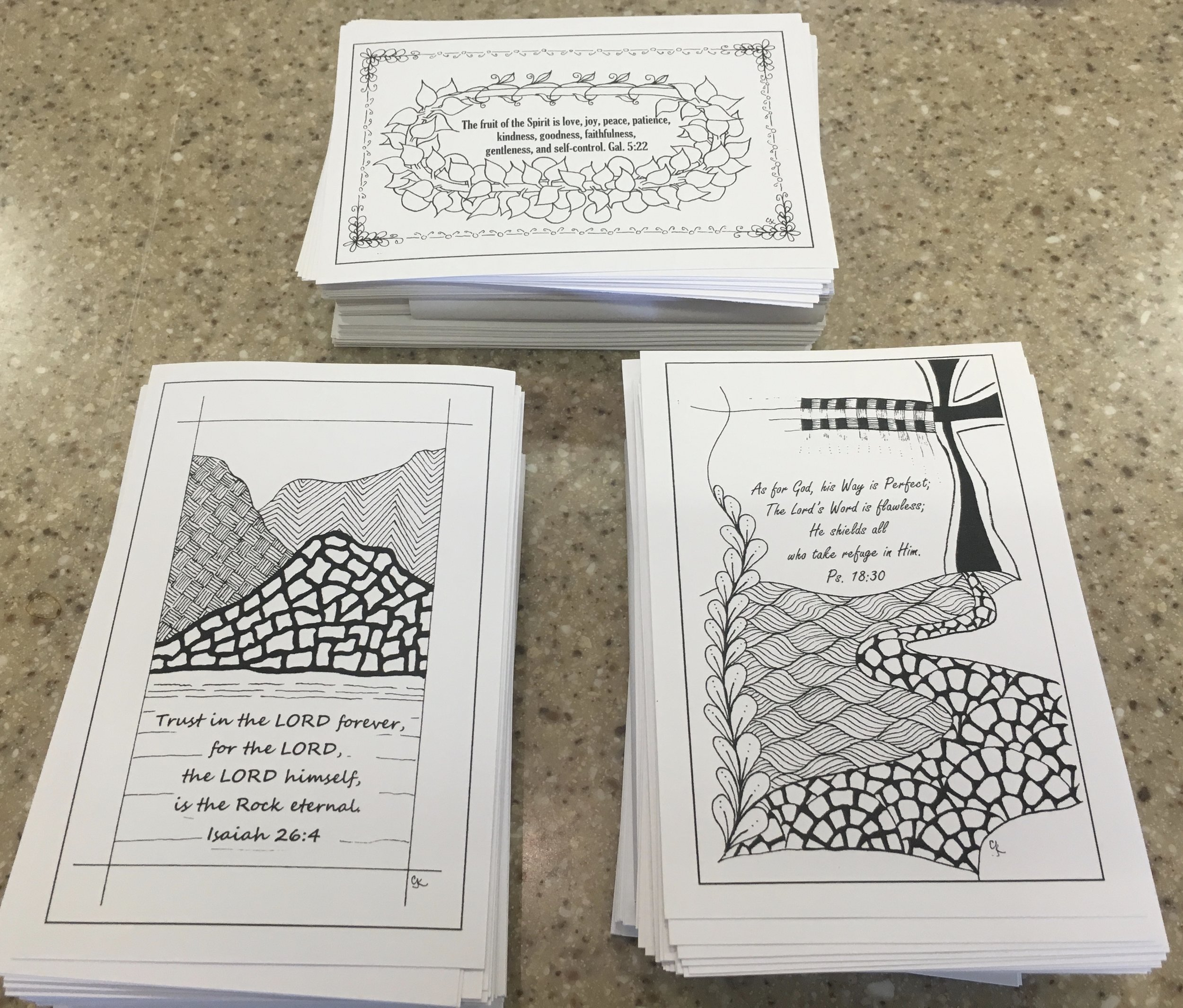 Here are some of the Versicle prayer cards created by Visual Faith Coach Carla Kramer and distributed to those attending.