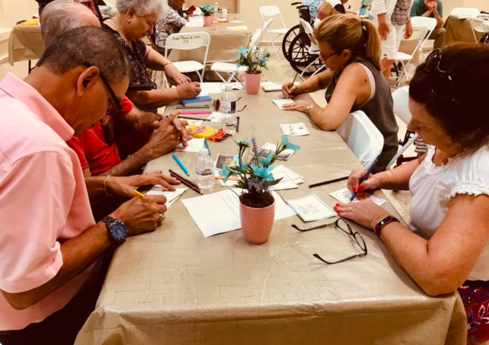 "Here is a group of people in Puerto Rico recently that attended a Visual Faith event led by Visual Faith Coach Judy May and the team from Emmanuel Lutheran Church in Fort Wayne, Indiana. Resources were created in Spanish and we are continuing to find and create new Spanish resources. Some things are up on the VFM website. This event was also attended by men. Once of the things that is helpful is simply to '""not assume"" that men would not be interested in Visual Faith practices. Perhaps the assumption to be made is that they are interested in PRAYER. When prayer practices connect to learning style rather than gender- this allows connections to be made that make sense for each person."