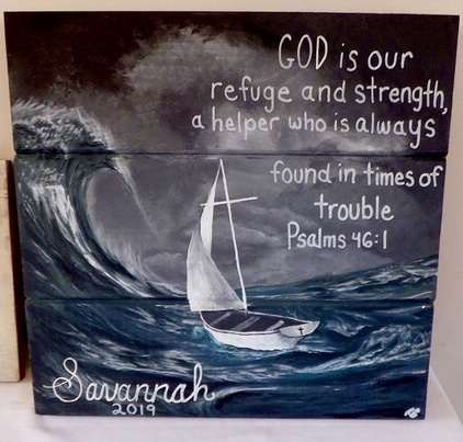 Painting by Rachael, age 16, who created this as a confirmation banner for a friend.