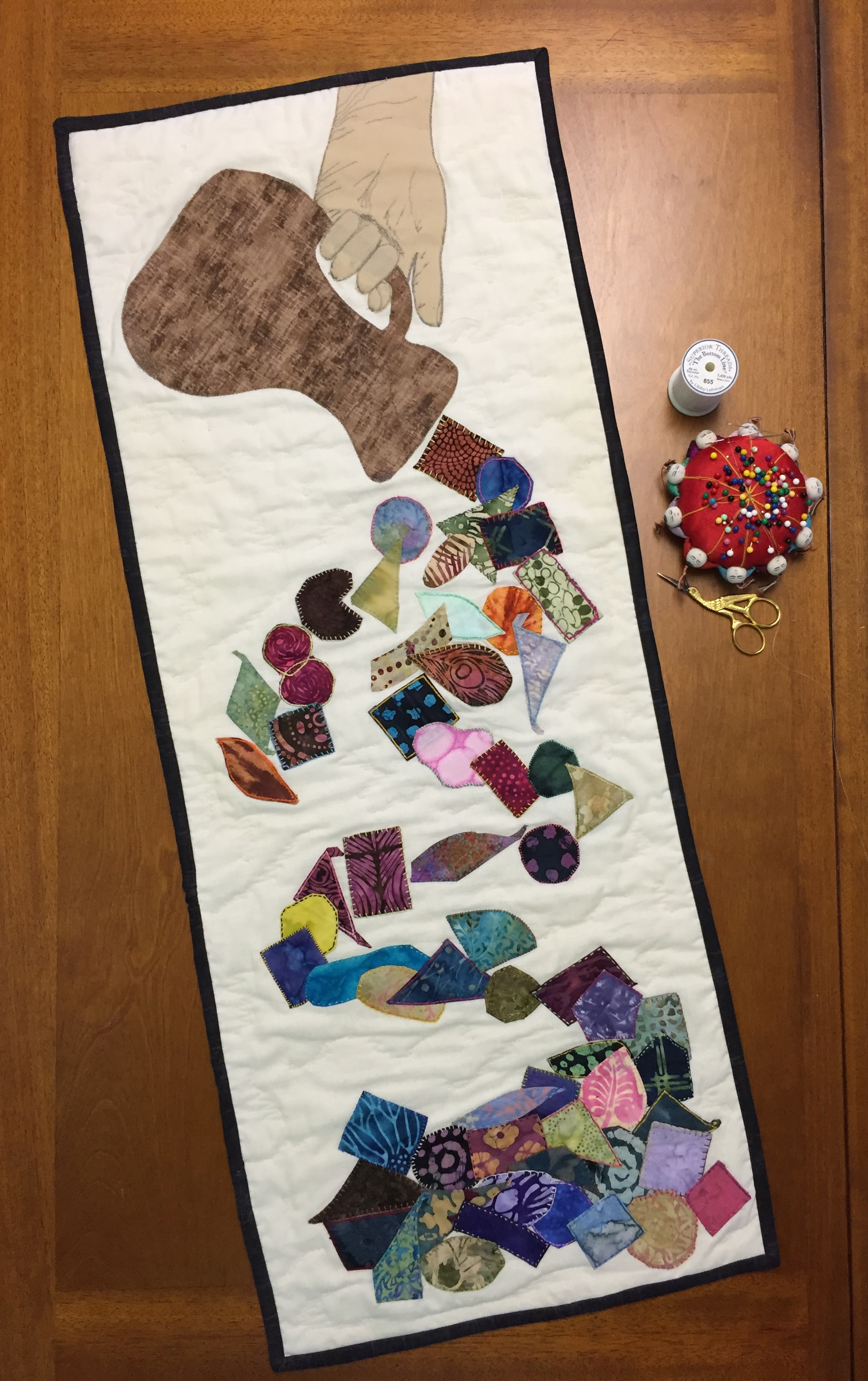 "Here is the completed Prayer quilt project. There are many names for prayer projects. Visual Faith coach Belinda Bost coined the term-""Praying the Stitches."" Nancy calls her project- ""Praying Through the Stitches."" Either name seems pretty appropriate for this prayer project."