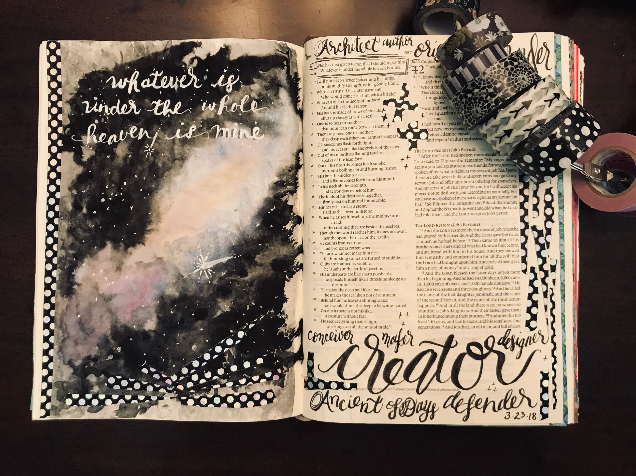 For the winter segment, I created a galaxy view. This piece inspired me to think beyond my circumstances to the big picture; God of the Universe is holding all things in His hands.