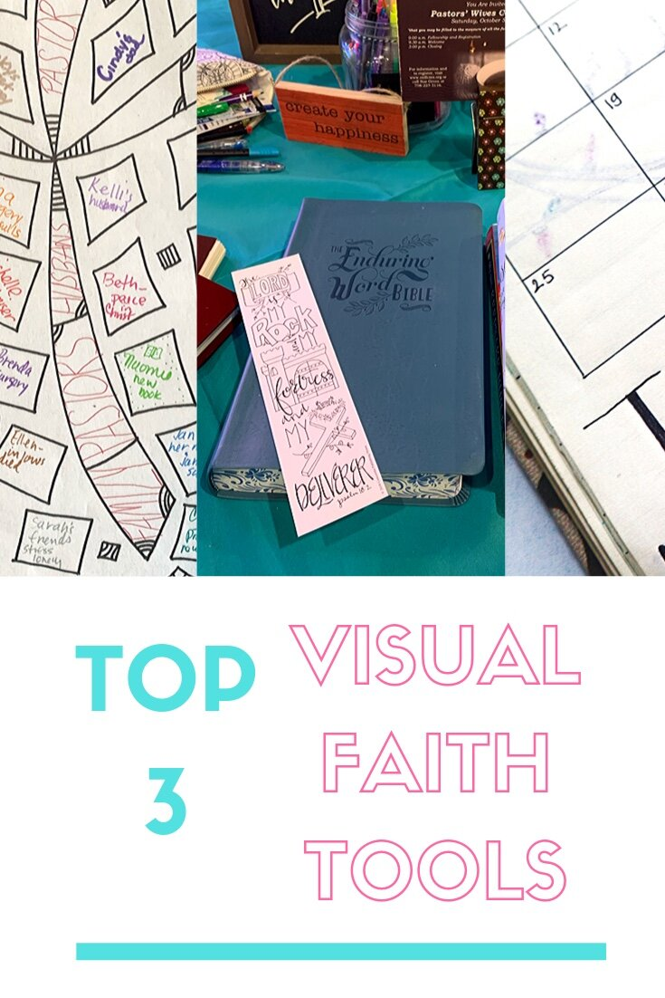 Here are the go-to helps: My Top 3 Visual Faith Tools     1- Visual Prayer - Using a sheet of paper to jot down prayers. Each can be formed into doodles and colored in. This helps you focus your prayers. Prayers sheets ( https://www.visualfaithmin.org/visual-faith-resources ) found on Visual Faith Ministry or Sybil MacBeth's book, Praying in Color ( https://prayingincolor.com ) both have inspiring doodle sheets. I recommend using your church bulletin and prayer list as a daily way to pray for your church family.     From my Pastor Wife Retreat, Shirley told me that these resources were exactly what she was looking for to use with her Ladies Guild. Shirley is trying to get younger ladies to join the group and really felt like something simple as visual prayer can help do that.     2- Bible Journaling - Using a journaling bible you can doodle or color in the margins of your bible while you study scripture. This helps you connect with what you are reading. A great to get started would be to print off Bible Journaling Margins ( https://www.visualfaithmin.org/new-products-1 ) for you to color and add to the margins of your bible.     3-Daily Prayer Calendar - Using a simple calendar and a devotional book you can jot down simple words each day in the calendar space to help you recall what you read. Good examples are your church daily devotions, Portal of Prayers ( https://www.cph.org/portals/ ) or daily devotions from a phone app. Print off calendars ( https://www.visualfaithmin.org/print-color-pray ) or use your own personal planner.     Bethany asked how she could use these tools with youth and parents in her congregation. I suggested teaching them to use a daily prayer calendar with their family devotions. This age is also prime for teaching Bible Journaling. I directed her to the Visual Faith Ministry Website ( https://www.visualfaithmin.org/hosts ) to get more information on hosting an event at her church. We can create a class that would be perfect for her needs.     These are just a few of our Visual Faith Tools. They can be used by all ages and skill levels. These tools are a great way to bridge the generation gap. What a great way to gather together to study scripture and pray for those in our church family.