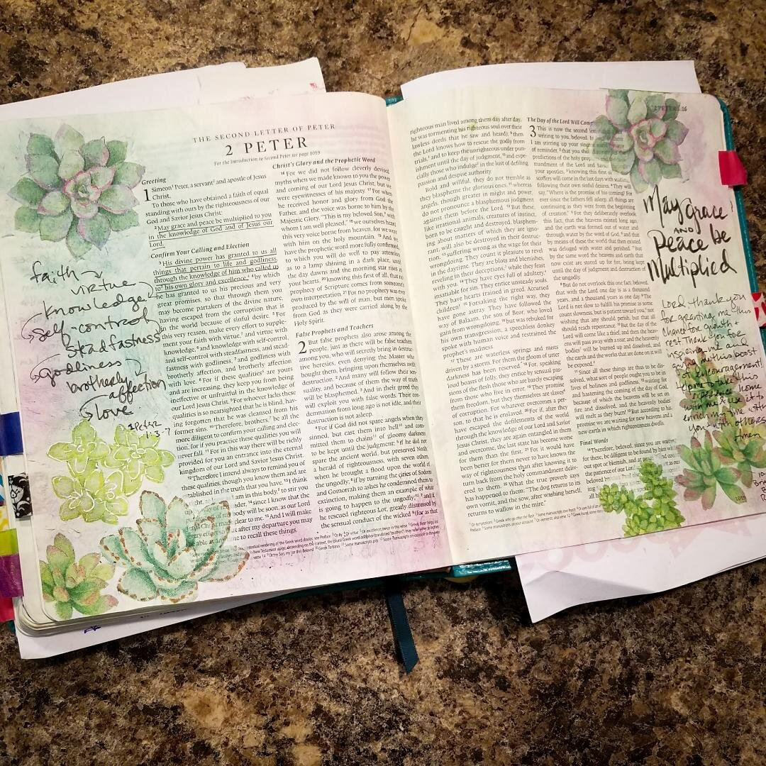 "Times sharing and creating alongside one another was truly a precious gift. It was absolutely incredible to discover how uniquely all of these amazing women are responding to God's grace through art! I learned something new from every conversation! Tips and tricks I didn't even know I needed to know that have inspired me to try new things. Did you know you can use a damp paint brush to ""cut"" out fussy shapes from a napkin? Have you had a chance to talk to someone who uses zentangle style doodles for therapy? Completely changed my understanding of the process. I learned gelato blending techniques and got to try out distress crayons. Turns out they're pretty amazing once you know how to use them. Who would have guessed that little sponge and dabber thing was such a big deal. I had an opportunity to watch someone doing an acrylic scraping and layering technique, using bubble wrap, toilet paper tubes, and stencils for texture. I got to try it out myself and fell in love with the process. The weekend was one art epiphany after another. What's even better than coming away with a head overflowing with new techniques and inspiration? Discovering a new group of friends I can stay in touch with as we share our work, ask questions, and encourage one another. -Katie  About the above photo -2 Peter 1:2-7 was the devotion text one morning. I used several techniques I picked up from new friends to celebrate this reminder of God's promises, His faithfulness, the work He does in me, and this gift of encouragement just when I needed it."
